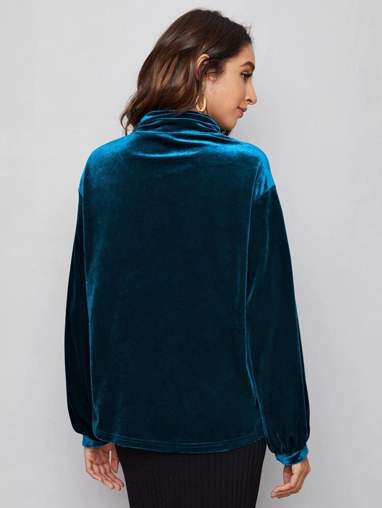 Fifth Avenue Womens High Neck Detail Velvet Stitched Western Top - FAWWT18