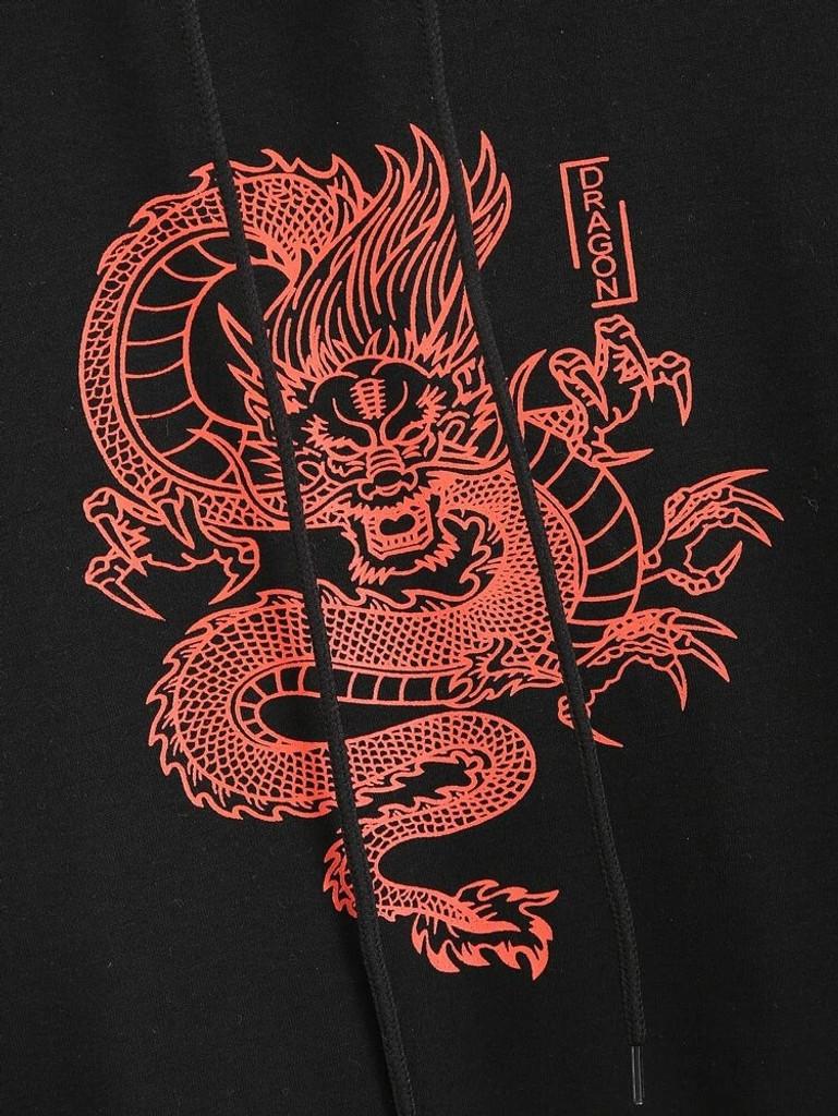 Fifth Avenue DIFT88 Dragon Print Hoodie - Black