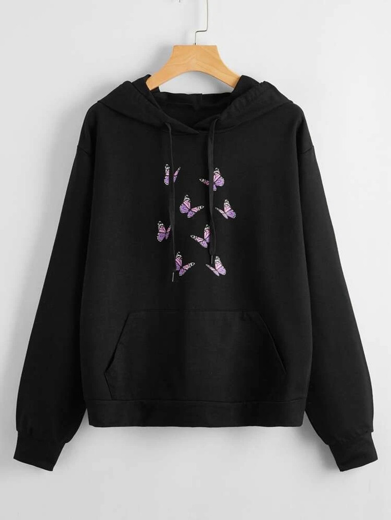 Fifth Avenue DIFT89 Butterfly Front Print Hoodie - Black