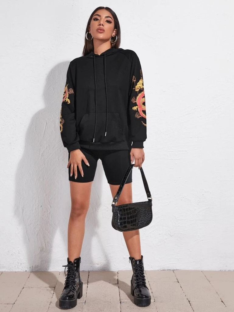 Fifth Avenue DIFT92 Chinese Dragon Sleeves Print Hoodie - Black