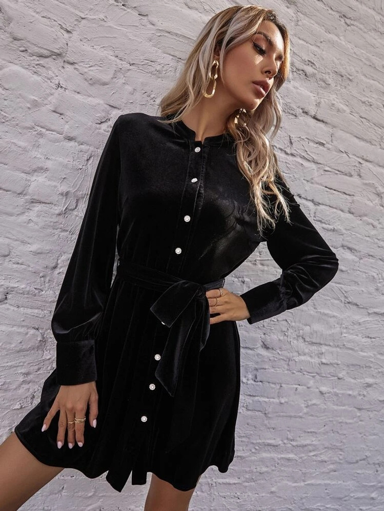 Fifth Avenue Womens Button Up Detail Velvet Stitched Western Dress FAWWDR4