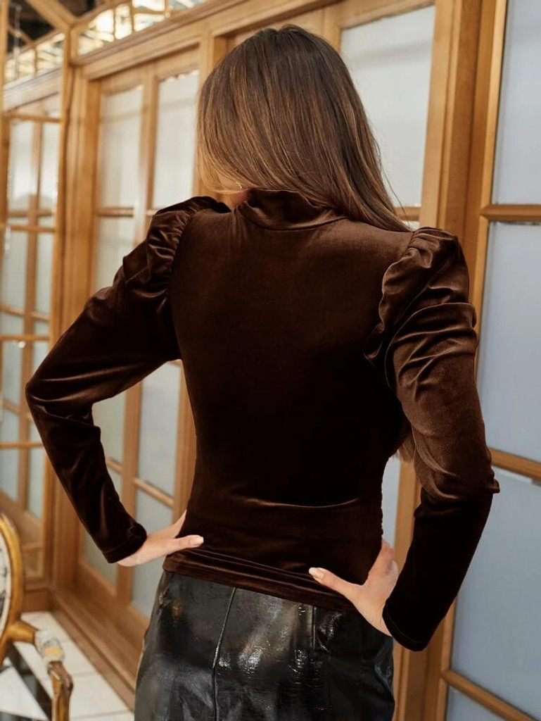 Fifth Avenue Womens Gigot Sleeve Detail Velvet Stitched Western Top - FAWWT21