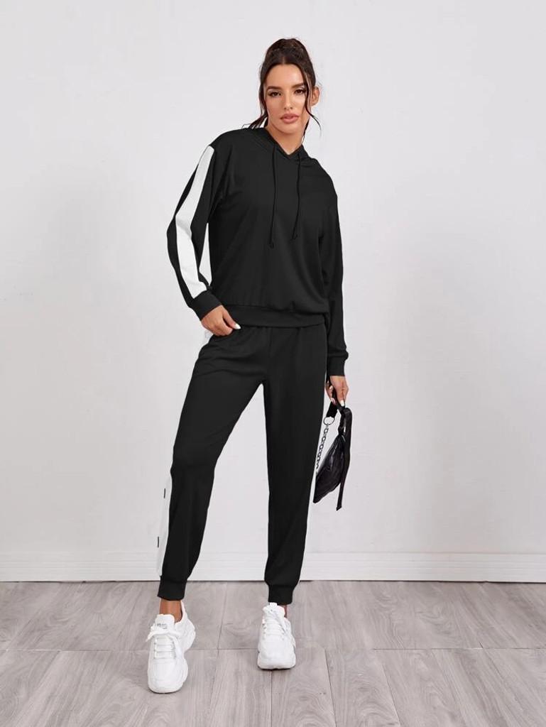 Fifth Avenue WTPS3 Contrast Panel and Jogger Pants Set - Black