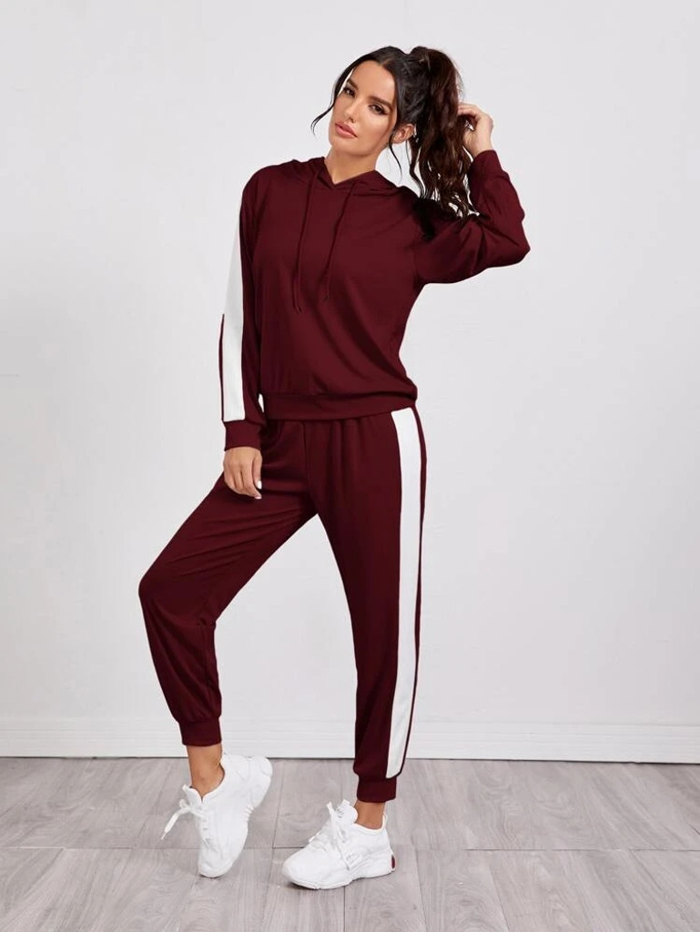 Fifth Avenue WTPS3 Contrast Panel and Jogger Pants Set - Maroon