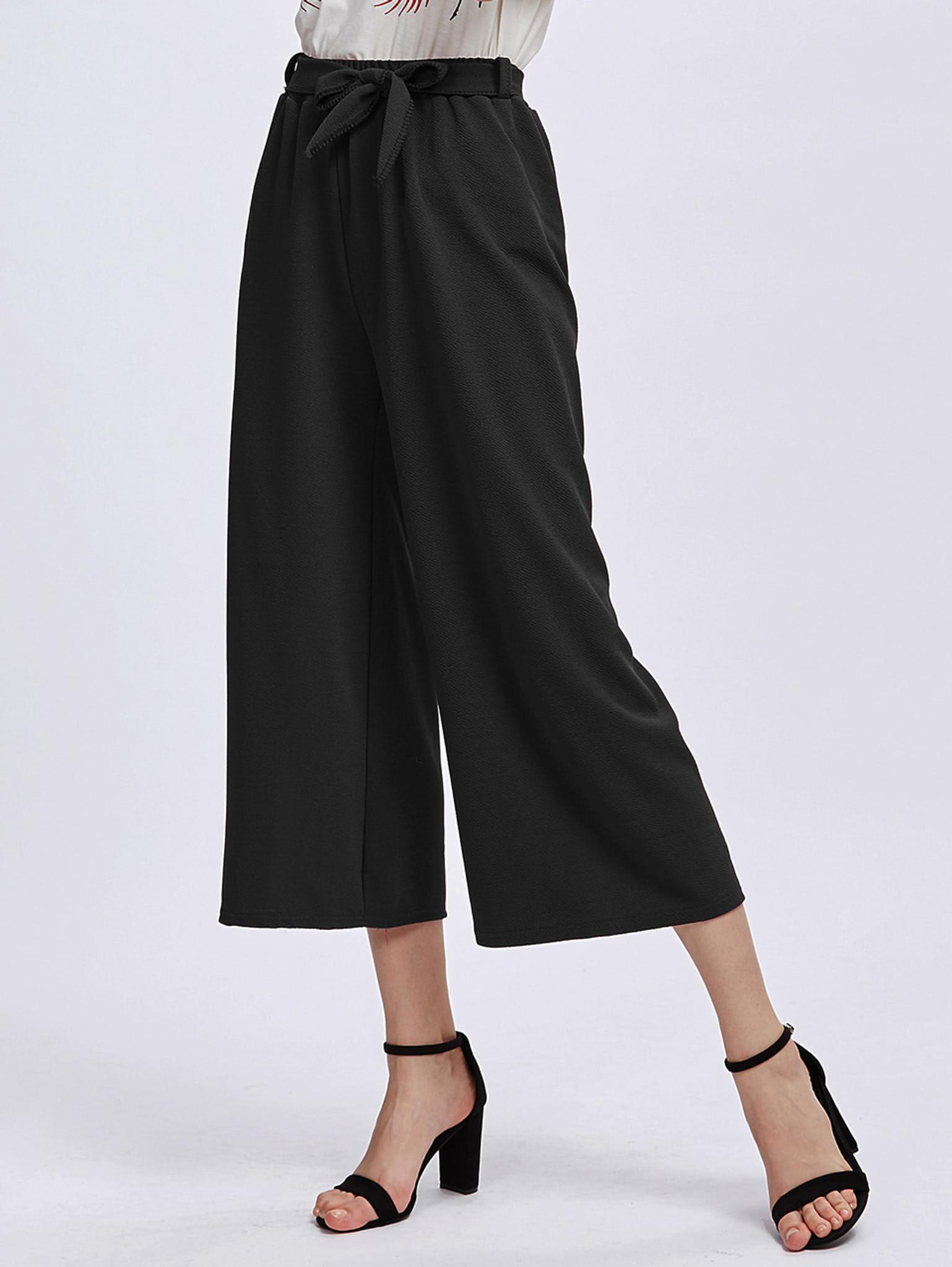 Fifth Avenue Georgette Tie-Waist Culotte Pants - Black