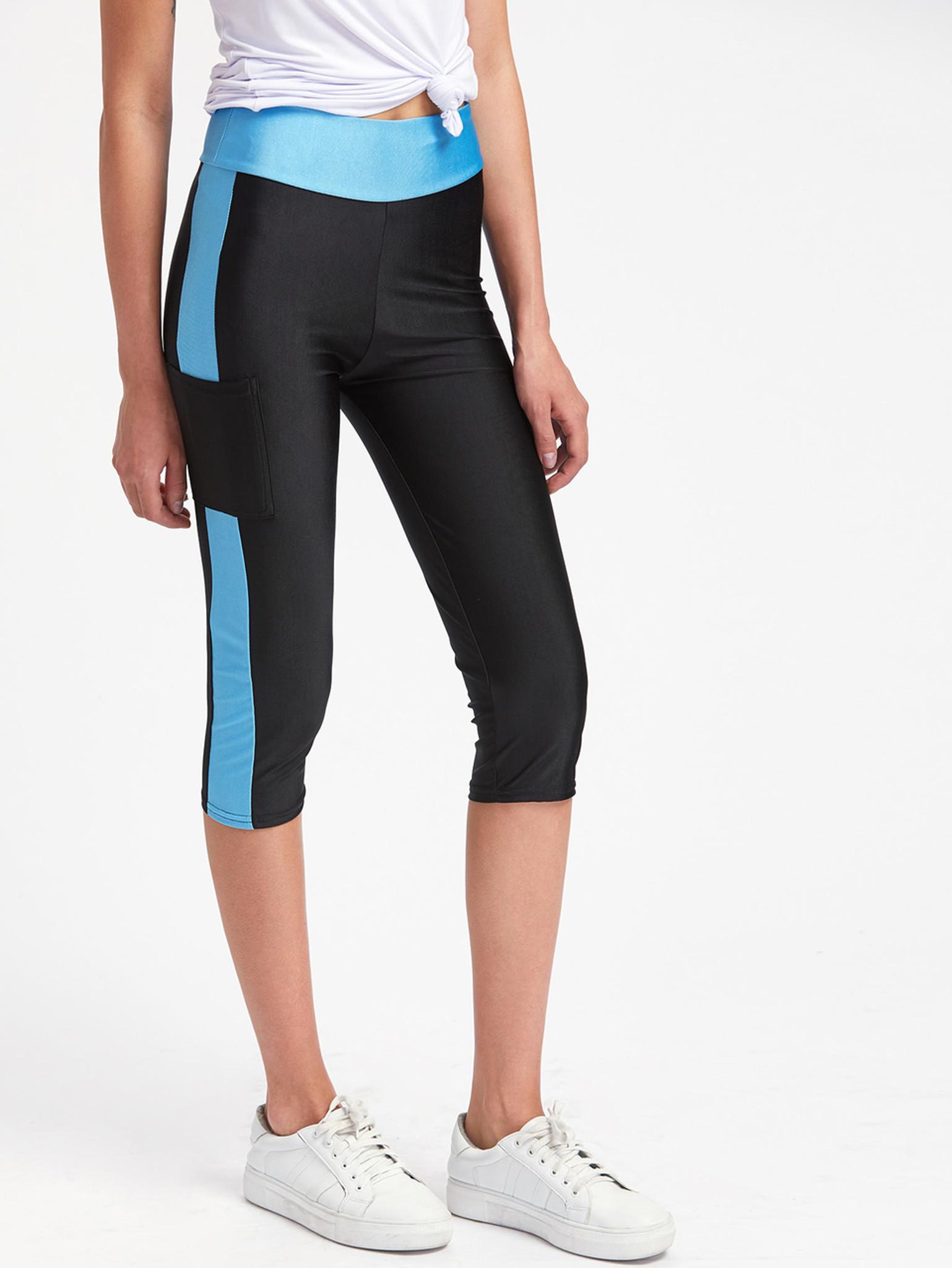 Fifth Avenue Color Block Pocket Capri Leggings - Black and Blue