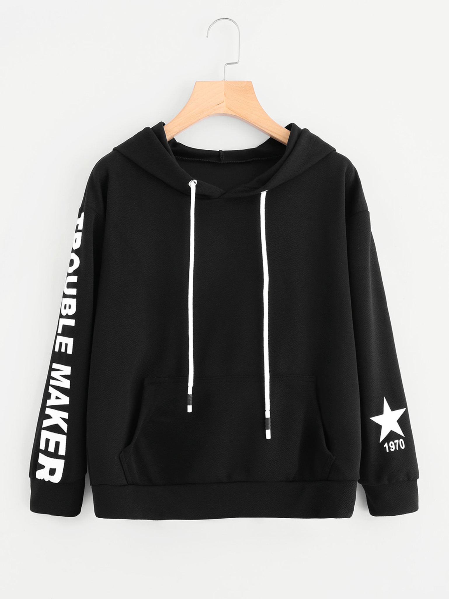 Fifth Avenue Trouble Maker Sleeve Print Hoodie - Black