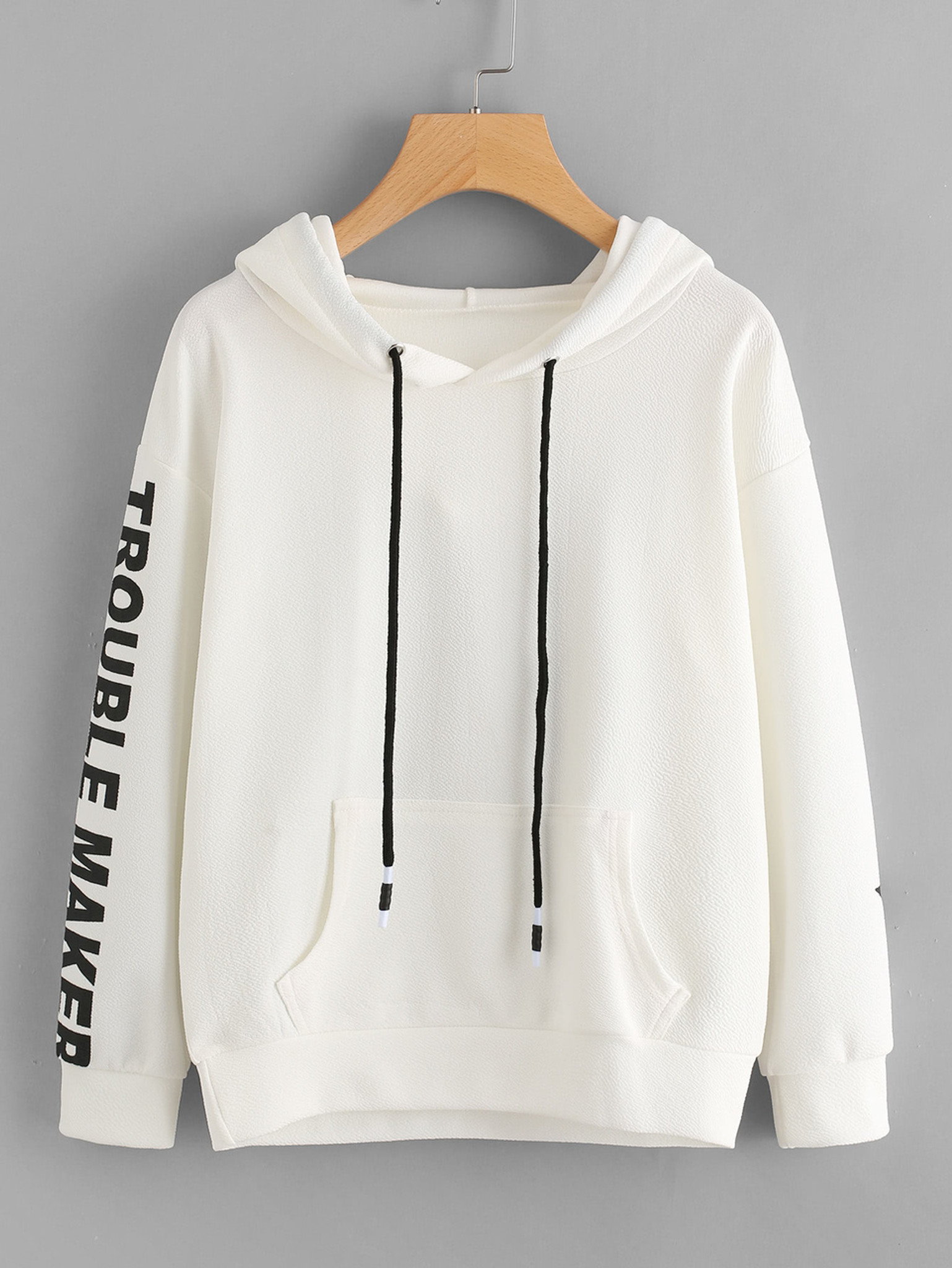 Fifth Avenue Trouble Maker Sleeve Print Hoodie - White