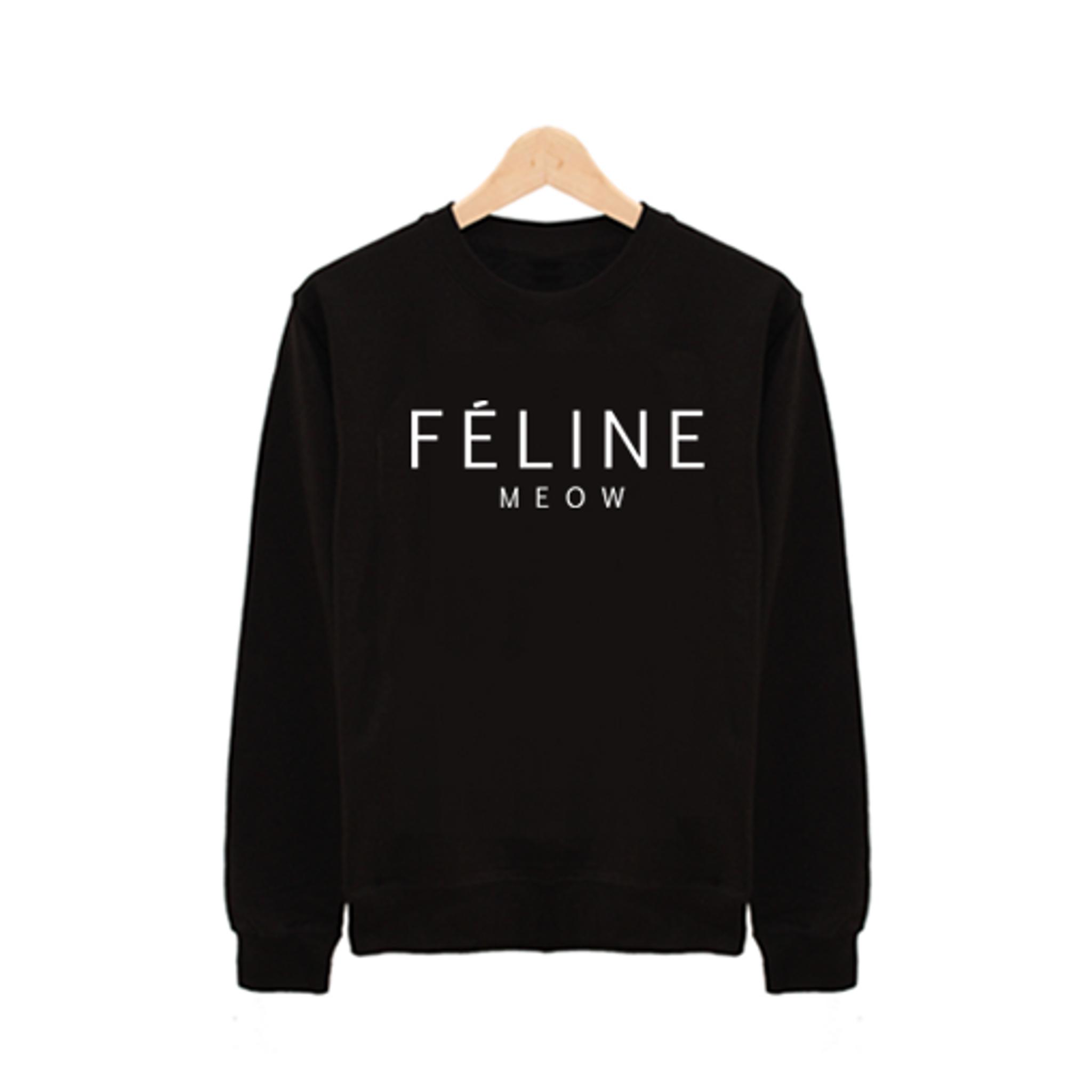 Fifth Avenue Meow Feline Printed Sweatshirt - Black