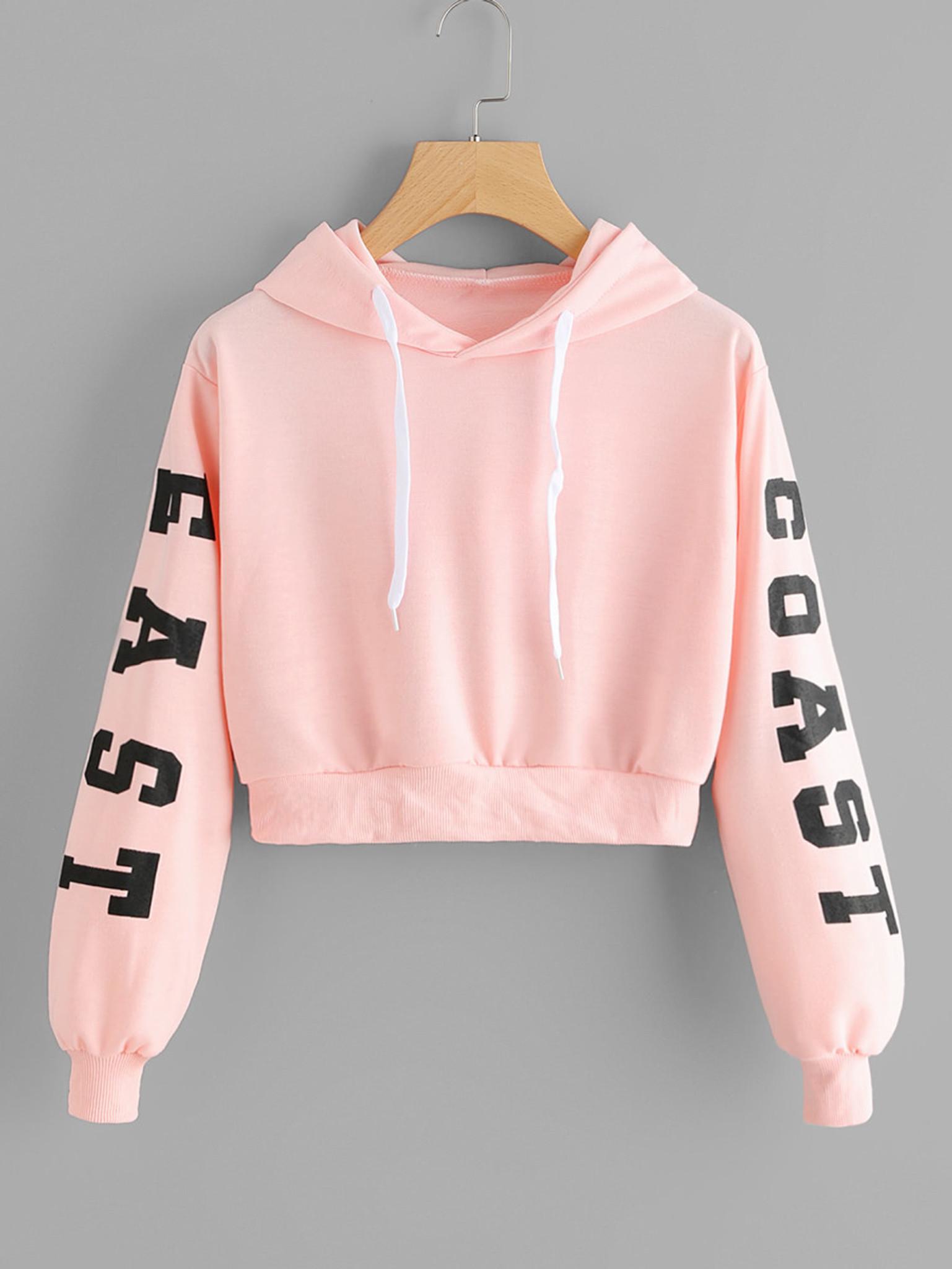 70b0c97fbc9 Fifth Avenue East Coast Sleeve Print Ribbed Cropped Hoodie - Pink