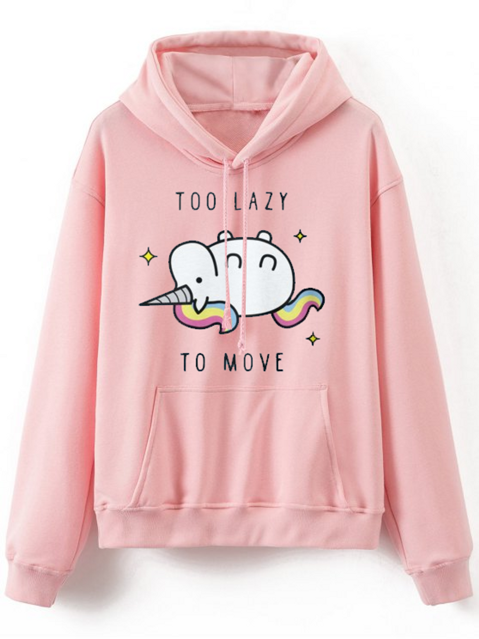 Fifth Avenue Too Lazy To Move Unicorn Print Hoodie - Pink
