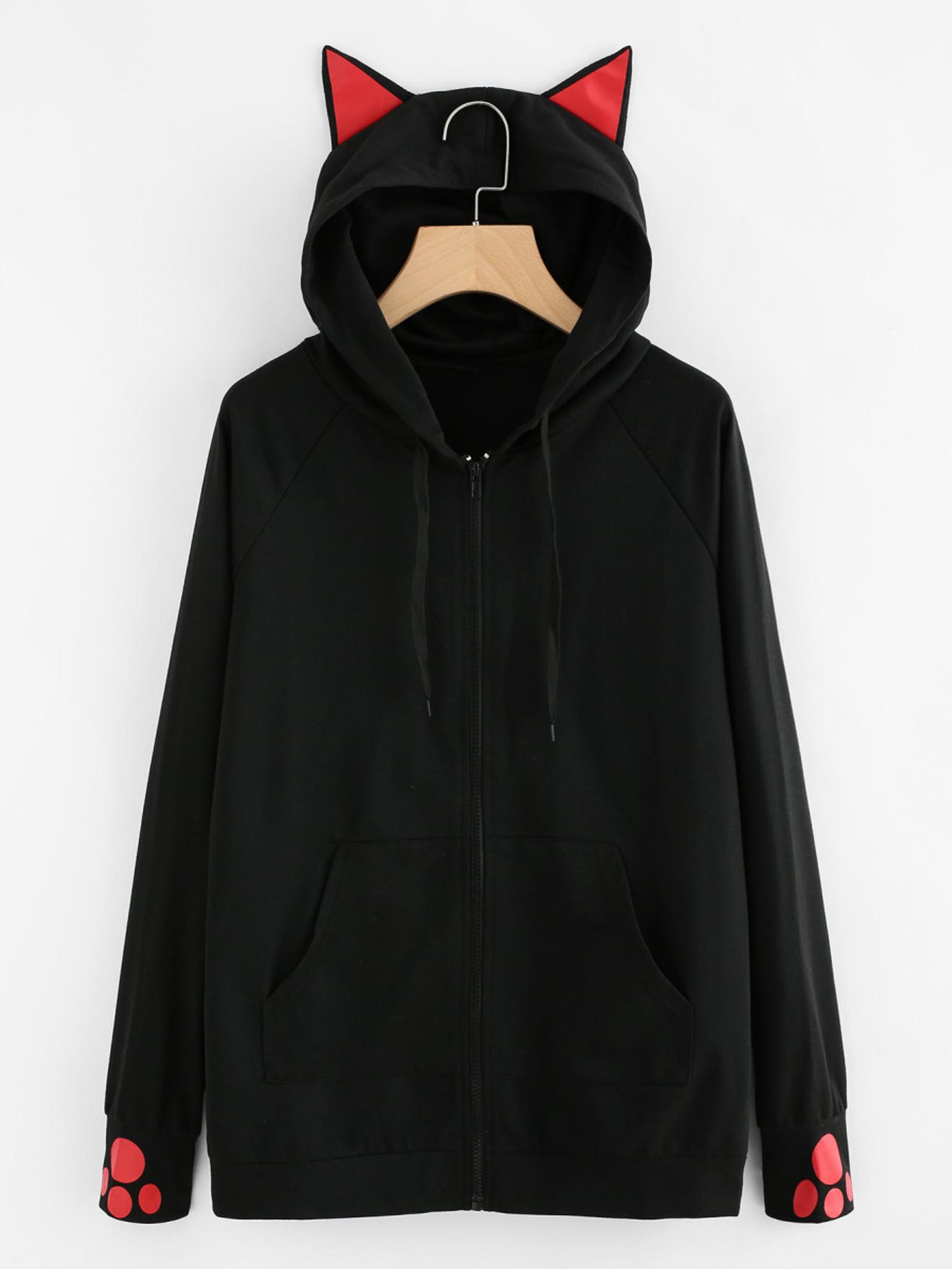 Fifth Avenue Women s Contrast Cat Ear Zip Up Hoodie - Black 791b920f68