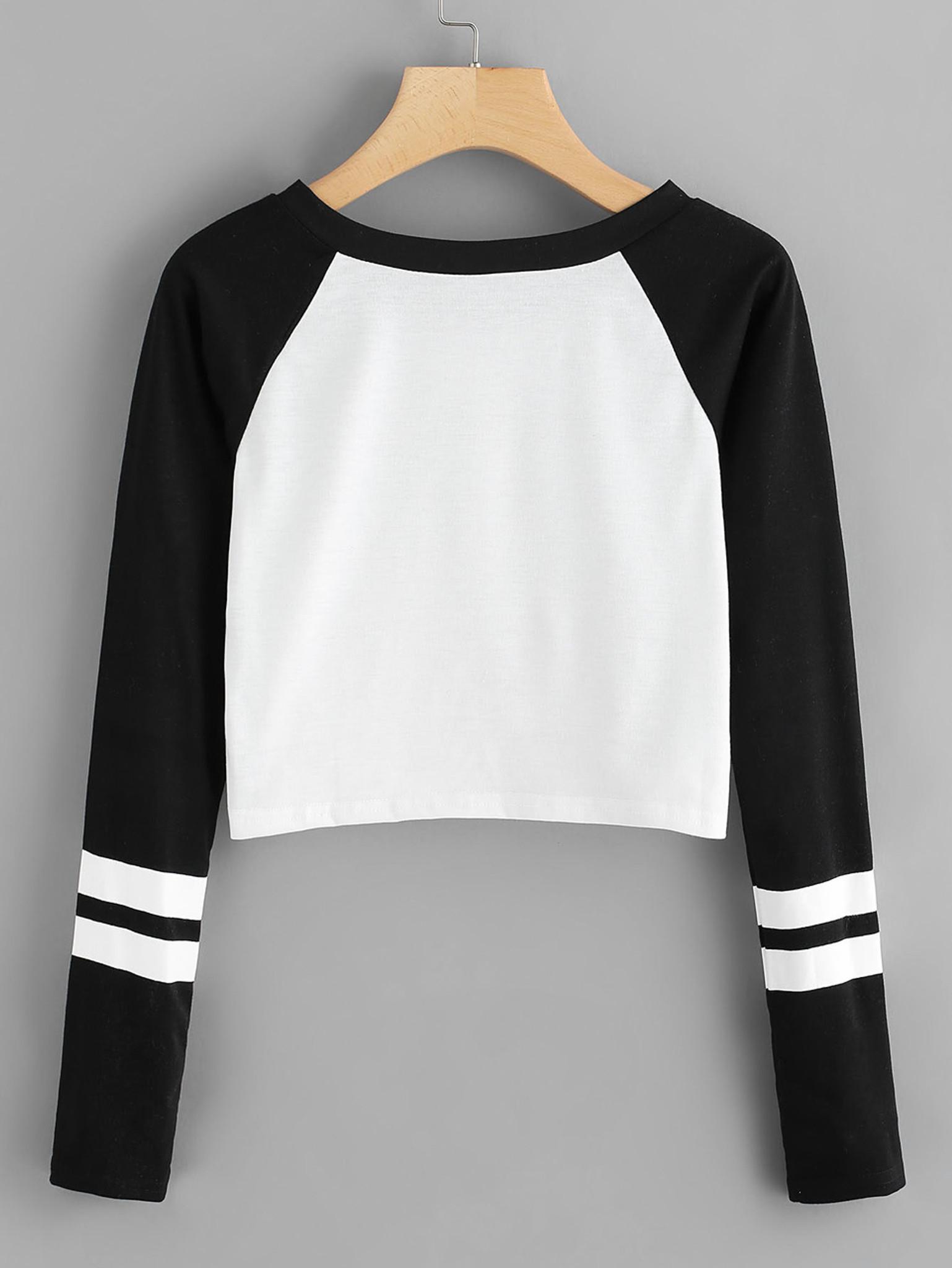 Fifth Avenue Women's Raglan Full Sleeve Sleeve Striped Crop T-Shirt - Black and White
