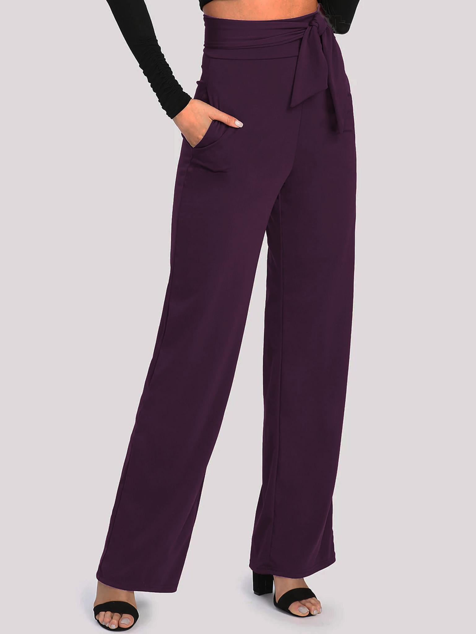Fifth Avenue Women's NESS Tie Waist Pants - Purple