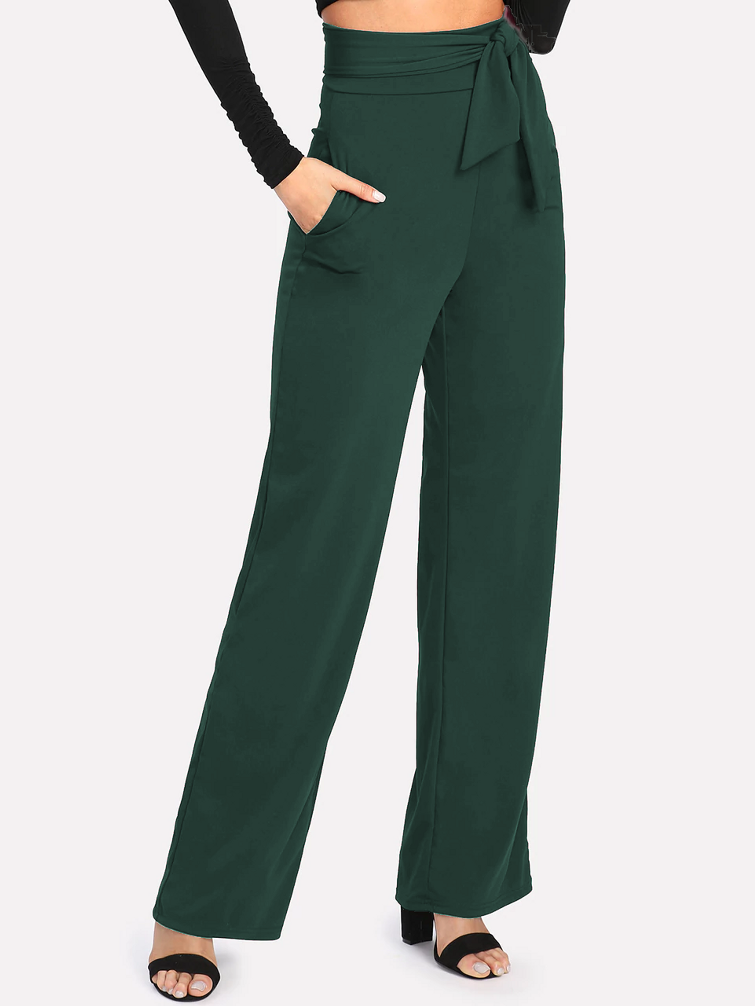 Fifth Avenue Women's NESS Tie Waist Pants - Green