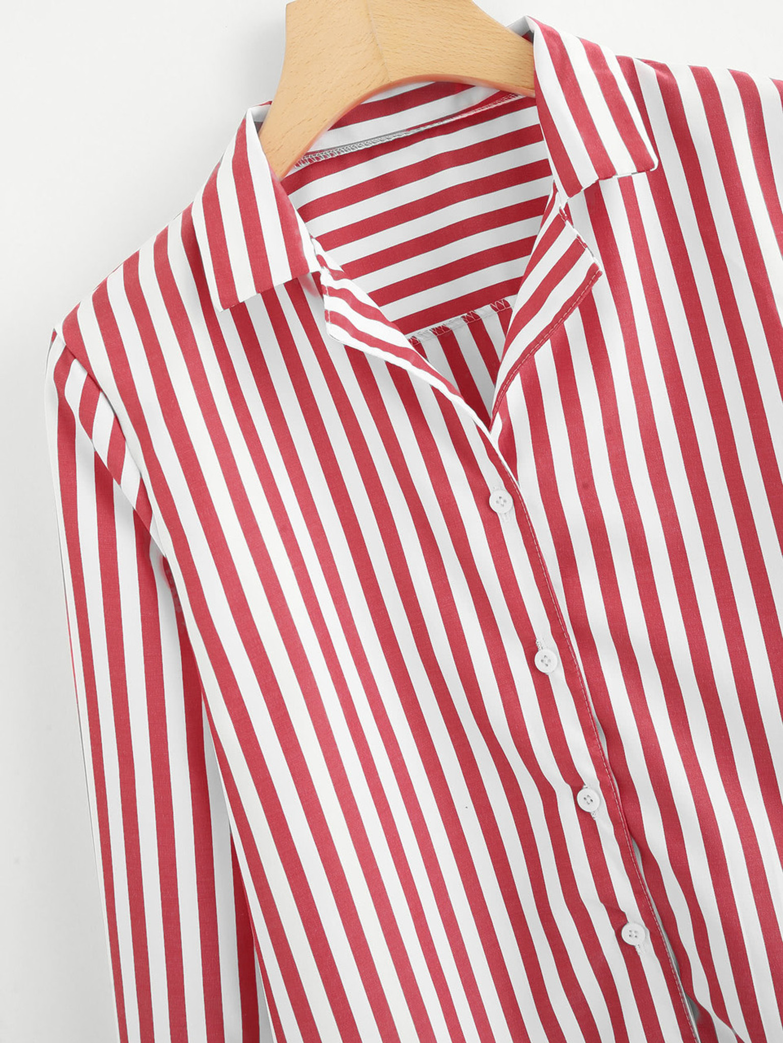 c14d5746 Fifth Avenue Women's Single Breasted Striped Button Down Shirt - Red and  White