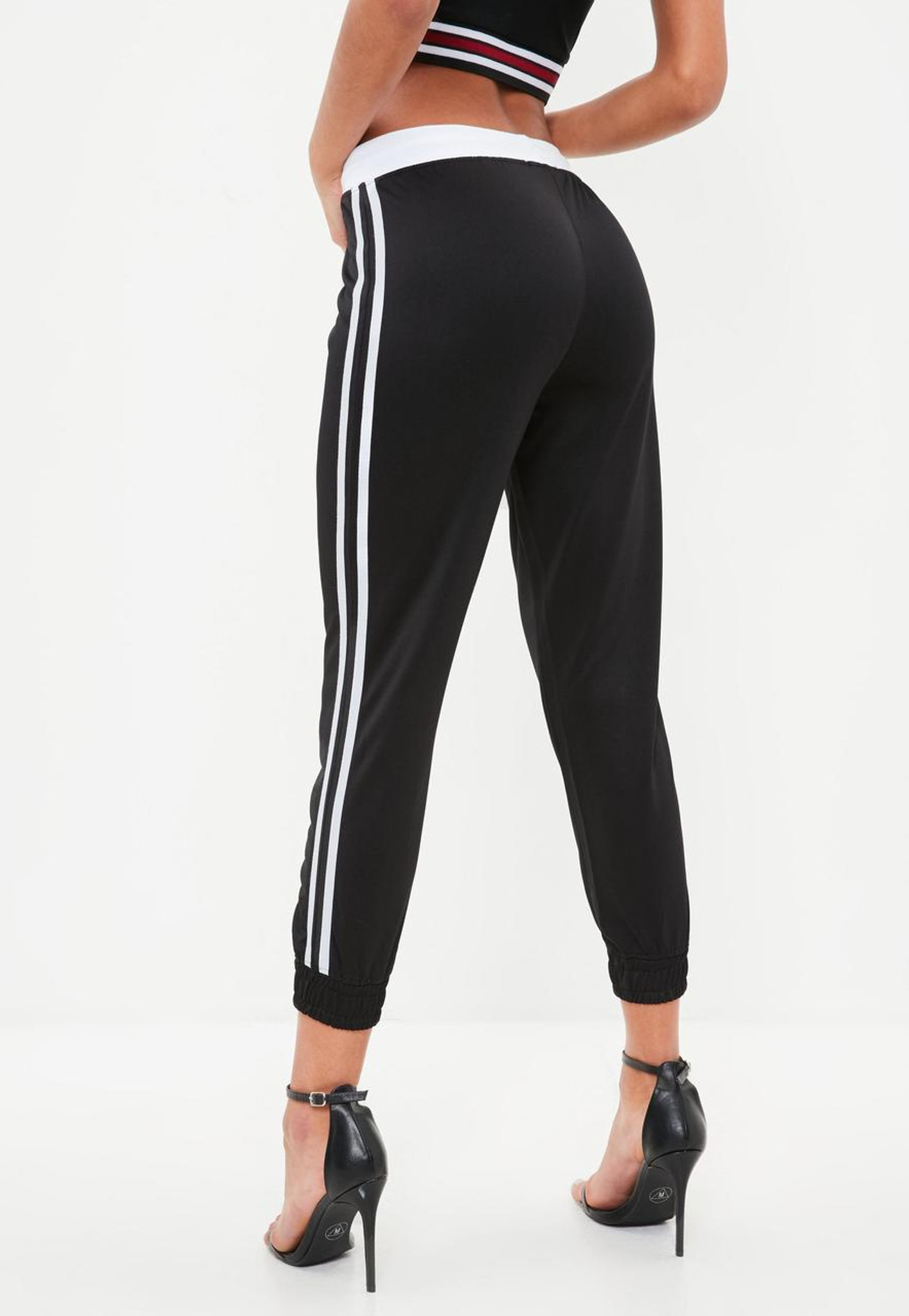 Fifth Avenue Women's MENZO Active Crop Jogger Pants - Black and White
