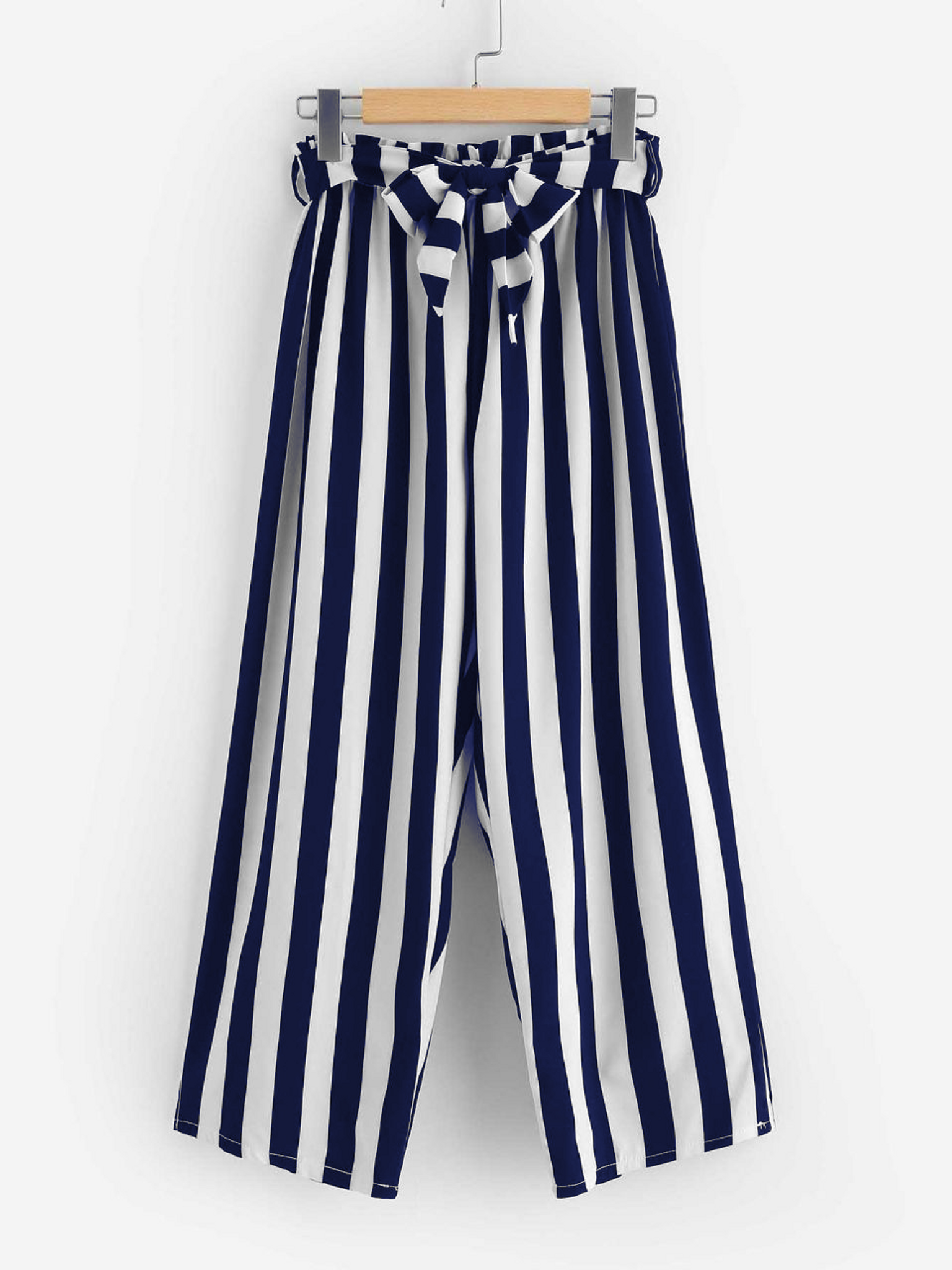 Fifth Avenue Viscose JESSA Stripe Tie-Waist Pants - Navy Blue and White