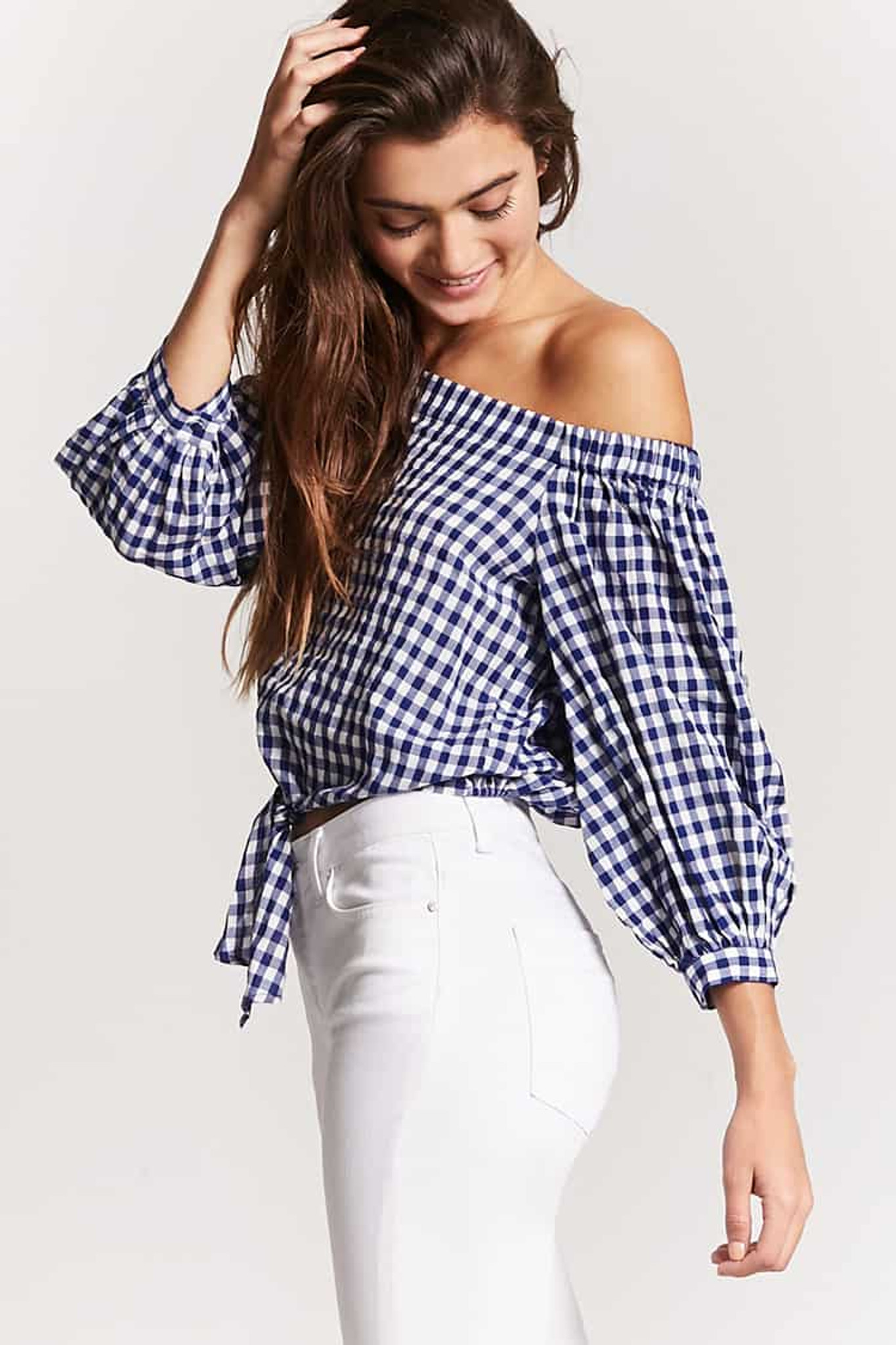 Fifth Avenue Women's Bottom Knot Gingham Off Shoulder Top - Dark Blue and White
