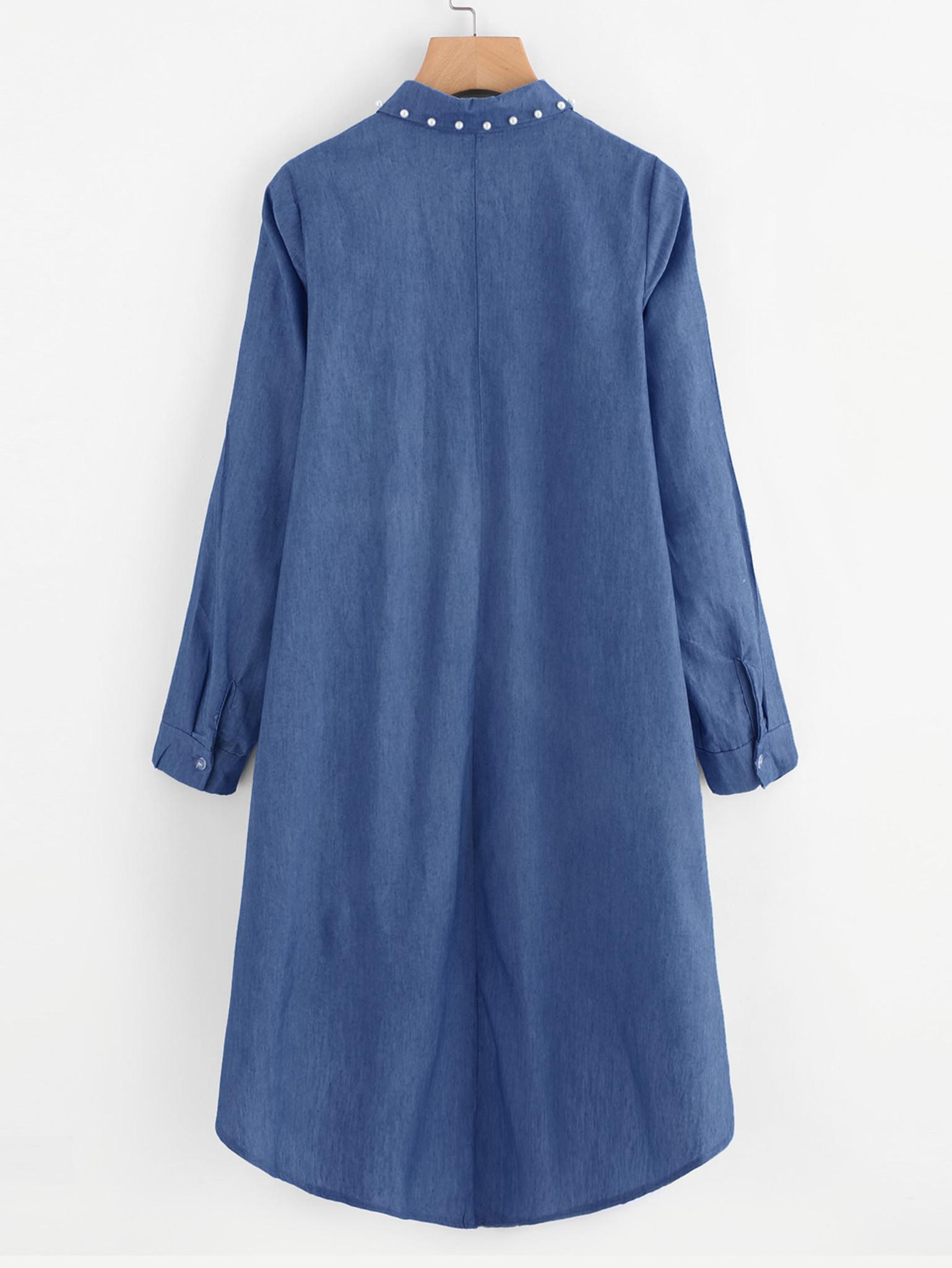 Fifth Avenue Women's Chambray Denim Heavy Beaded High Low Shirt - Dark Blue