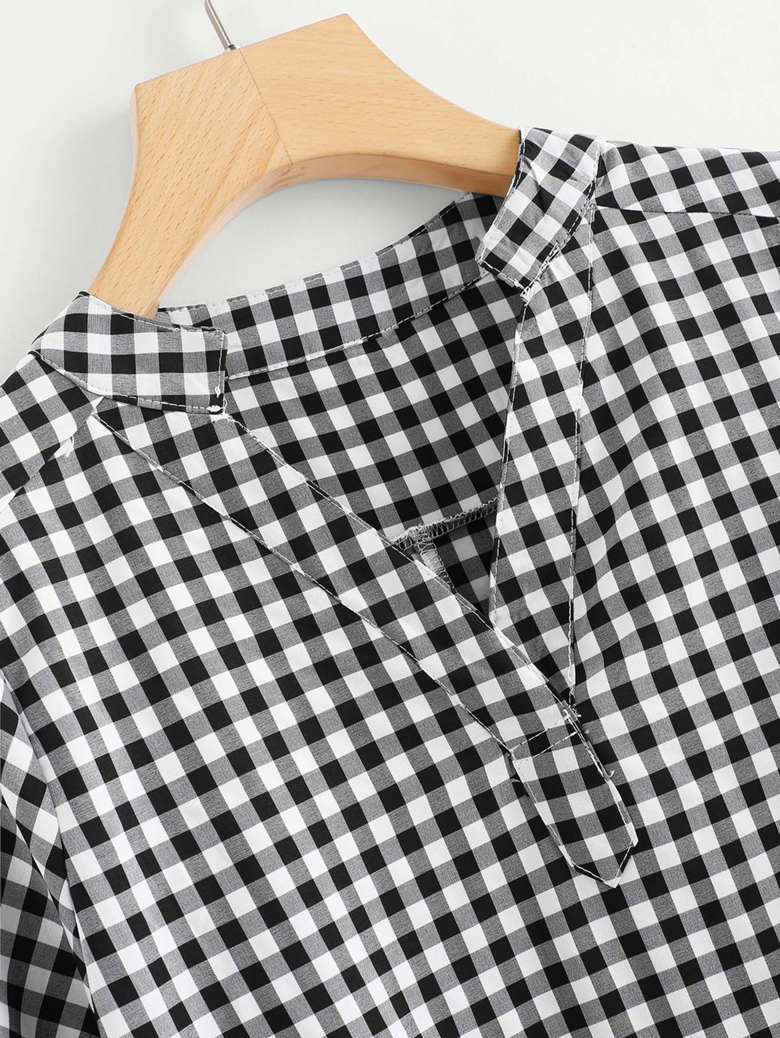 Fifth Avenue Women's JEST V Neck Roll Up Sleeve Gingham Top - Black and White