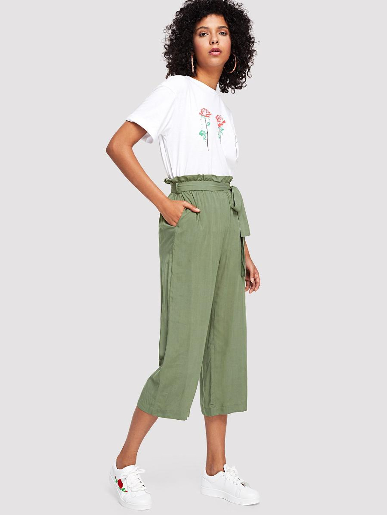 Fifth Avenue ROSH Georgette Tie-Waist Culotte Pants - Green
