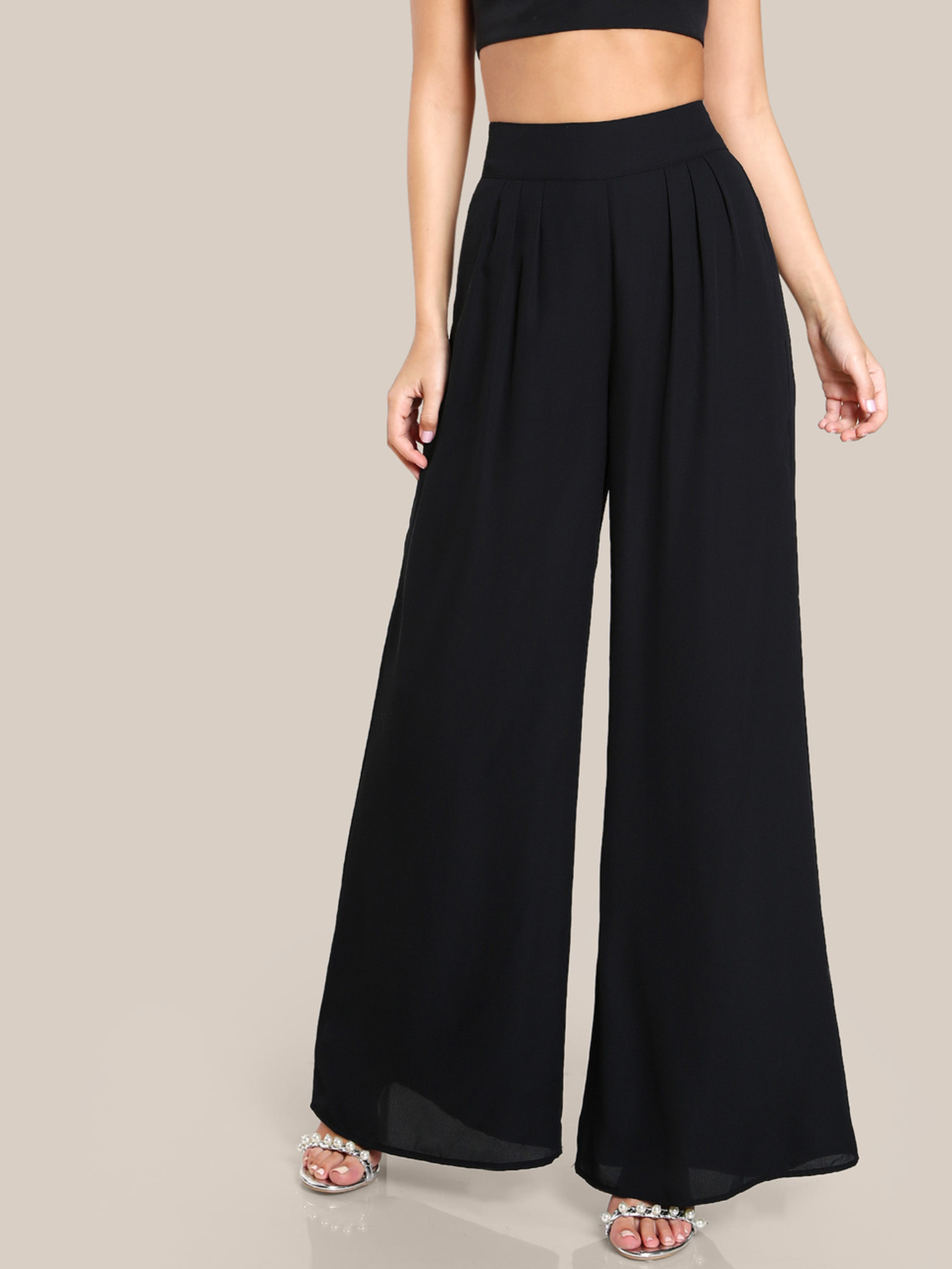 Fifth Avenue Womens Georgette Box Pleated Wide Leg Pants - Black