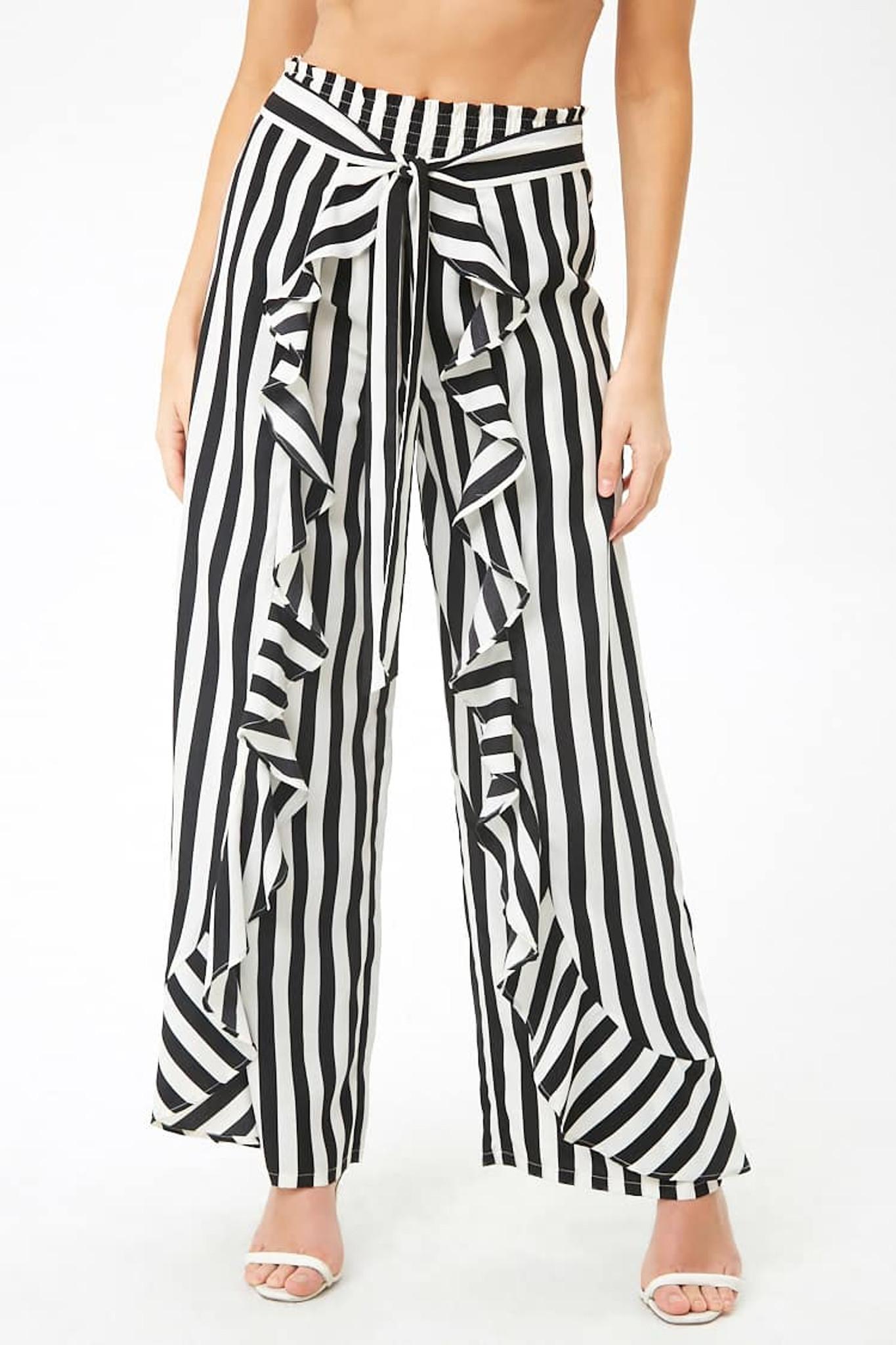 Fifth Avenue Viscose JOLL Stripe Tie-Waist Front Frill Full Length Wide Leg Pants