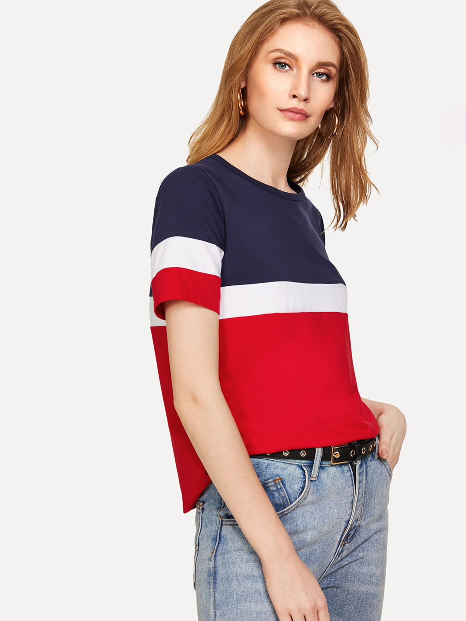 Fifth Avenue Womens JISK Color Block T-Shirt - Red and Blue