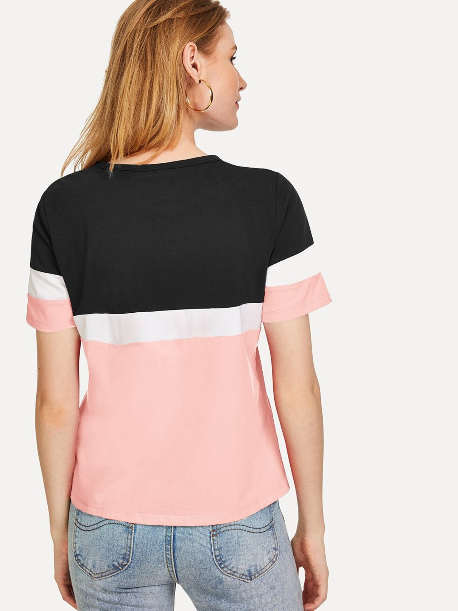Fifth Avenue Womens JISK Color Block T-Shirt - Pink and Black