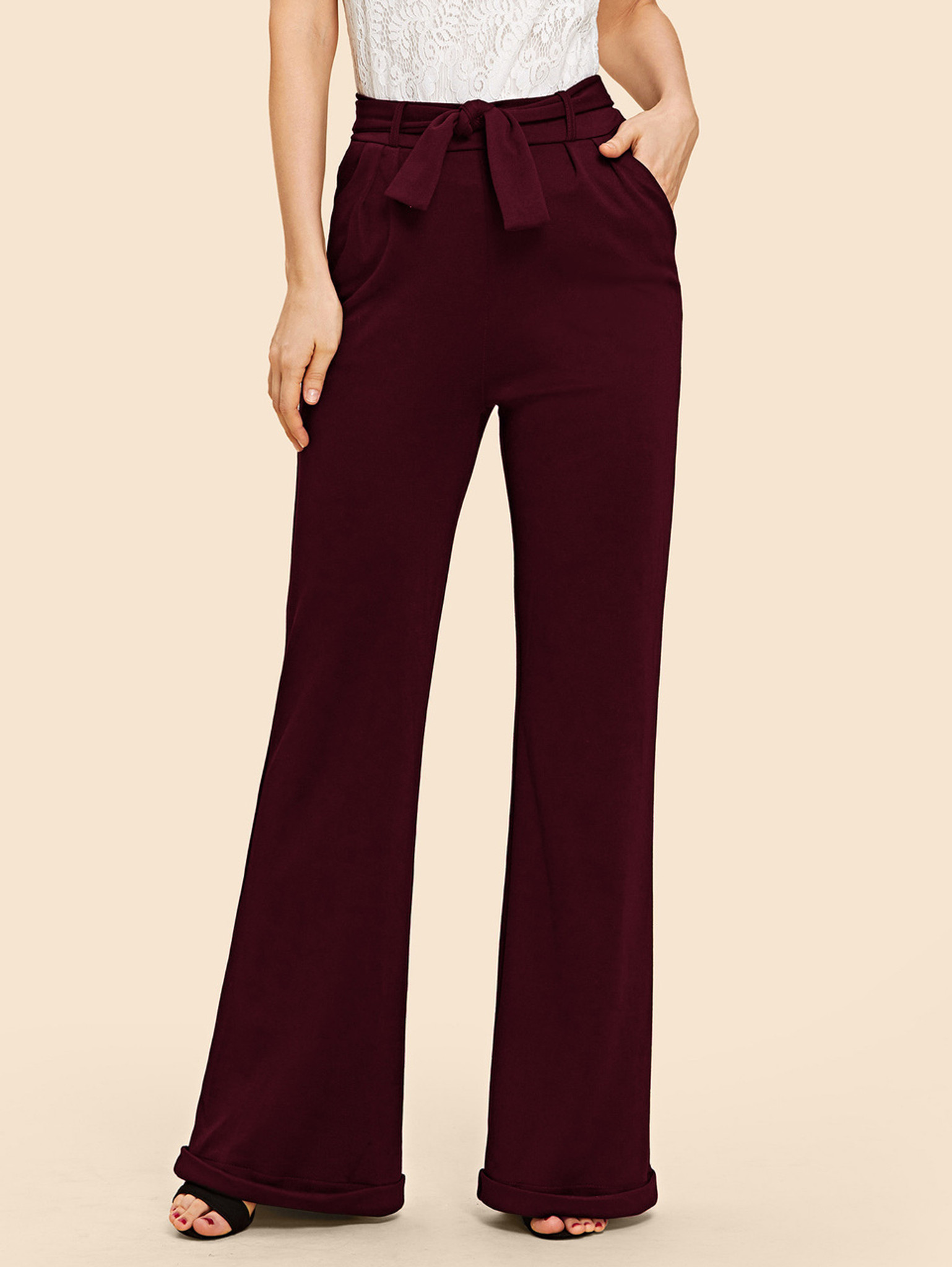 Fifth Avenue Womens NIXX Flare Cuffed Wide Leg Pants - Maroon