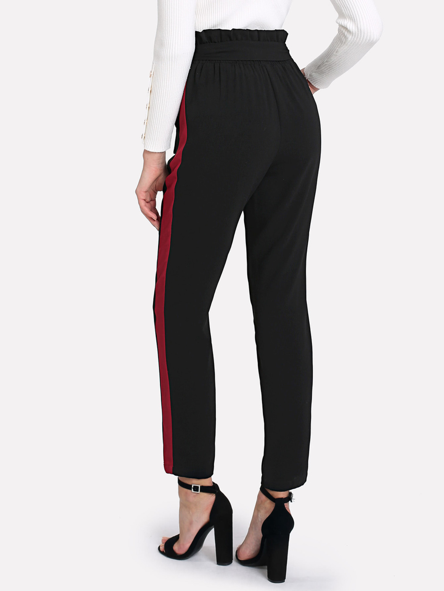 Fifth Avenue Womens TINJ Contrast Panel Georgette Pants - Black and Red