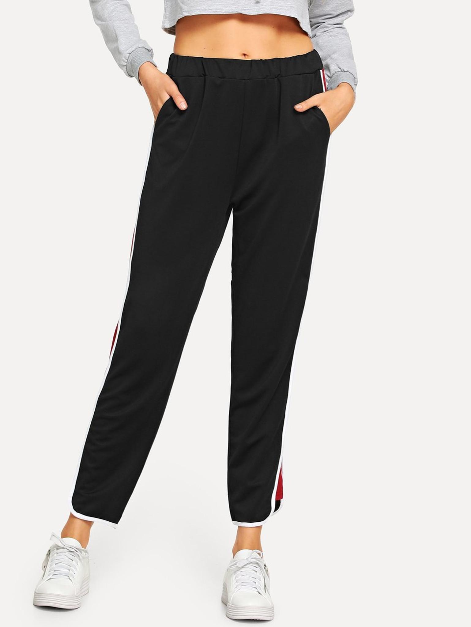 Women's SHIKO Color Block Track Pants by Fifth Avenue - Black