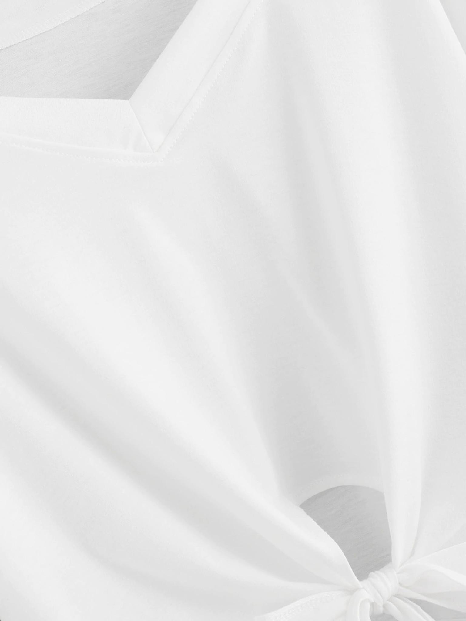 Fifth Avenue Women's NIKS Full Sleeve Slit Neck Sleeve Striped T-Shirt - White