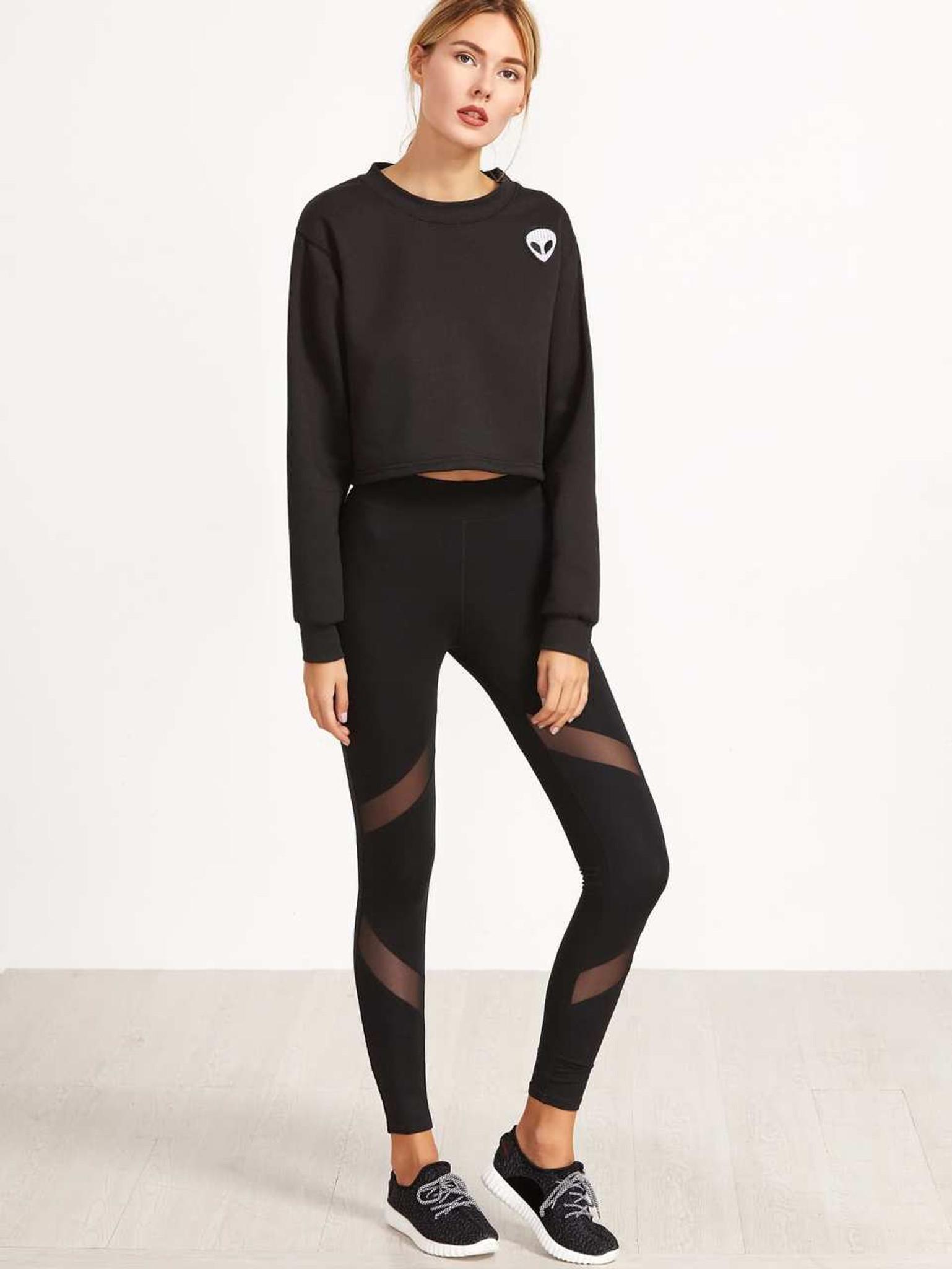 Fifth Avenue U871 Active Mesh Panel Yoga Pants - Black