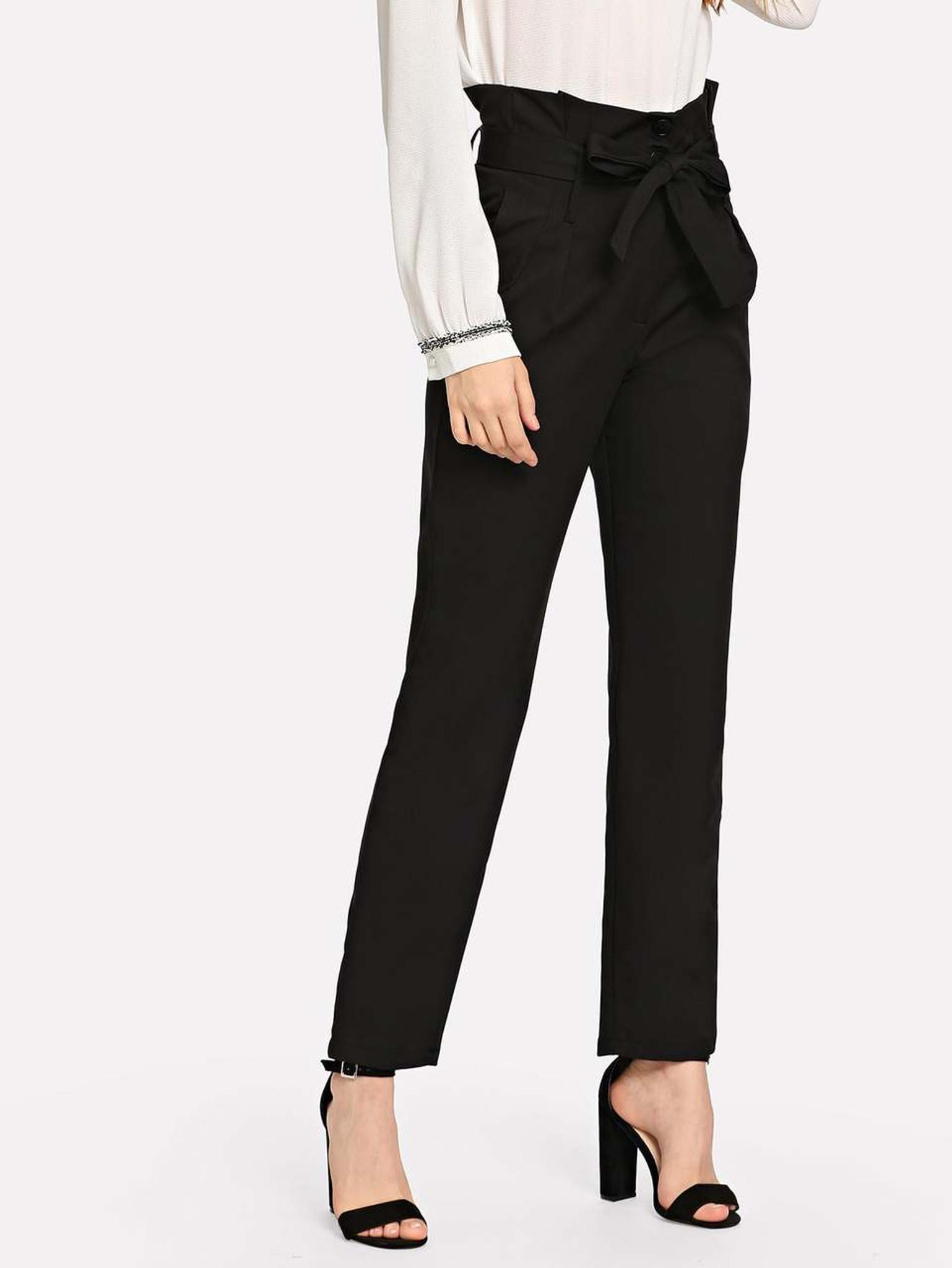 Fifth Avenue Women's JIKSP2 Tie Waist Frill Pants - Black