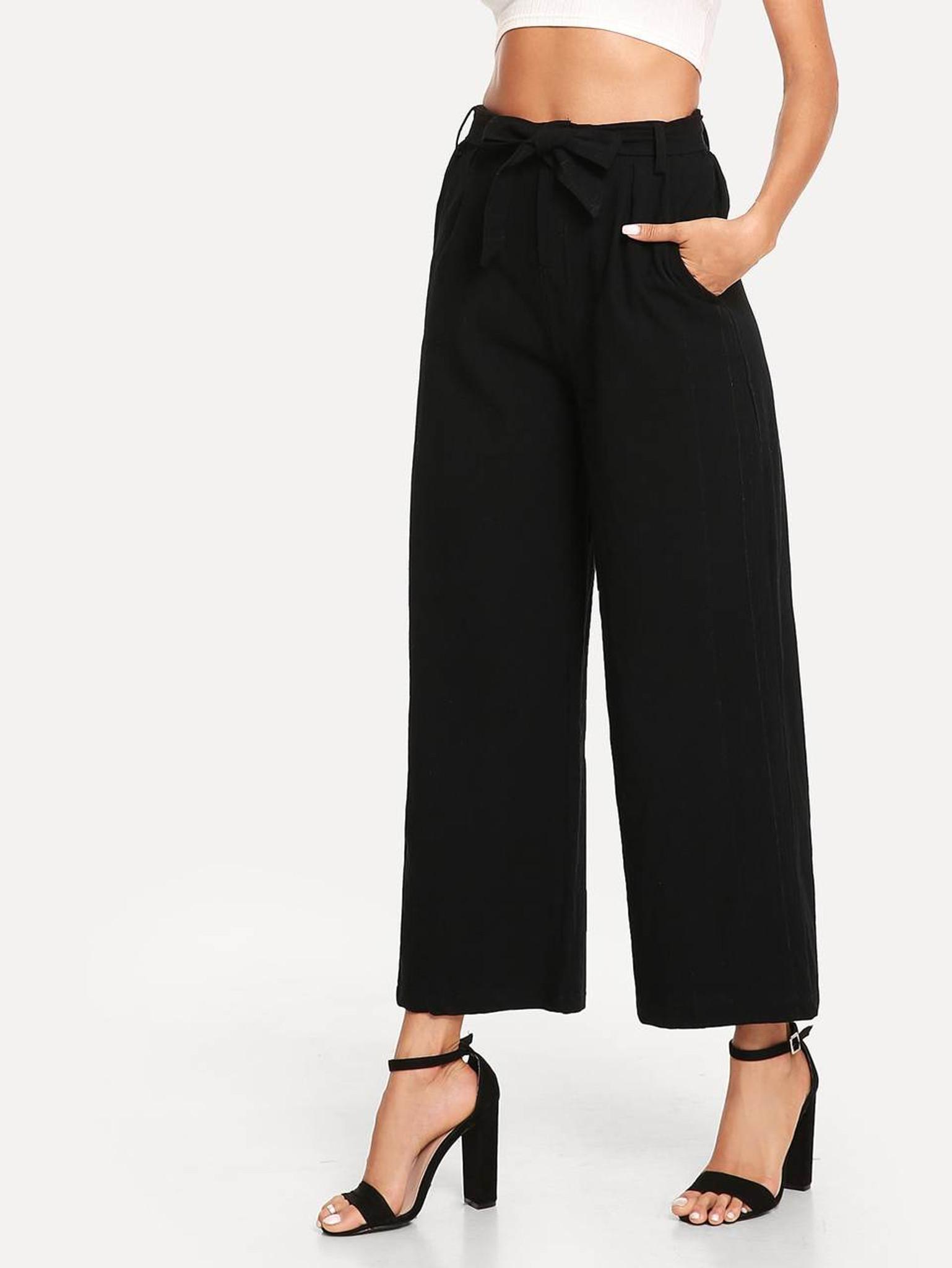 Fifth Avenue Women's AVNO2 Tie Waist Pants - Black
