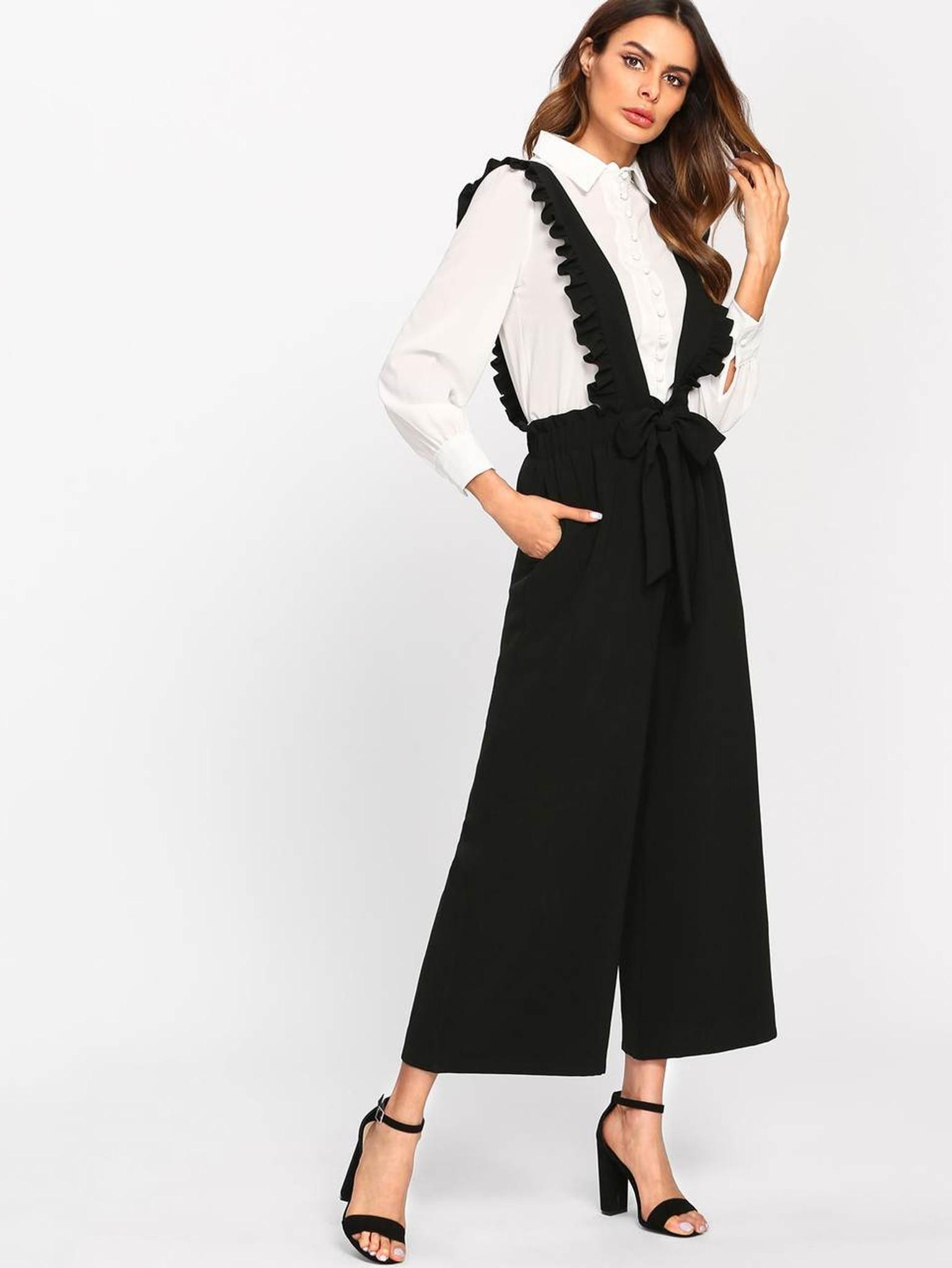 Fifth Avenue Women's AVNO4 Ruffle Suspender Pants - Black