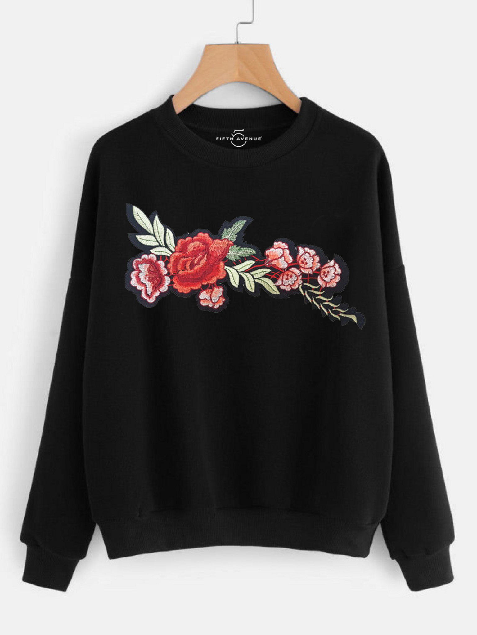Fifth Avenue NINT2 Floral Embroidered Sweatshirt - Black