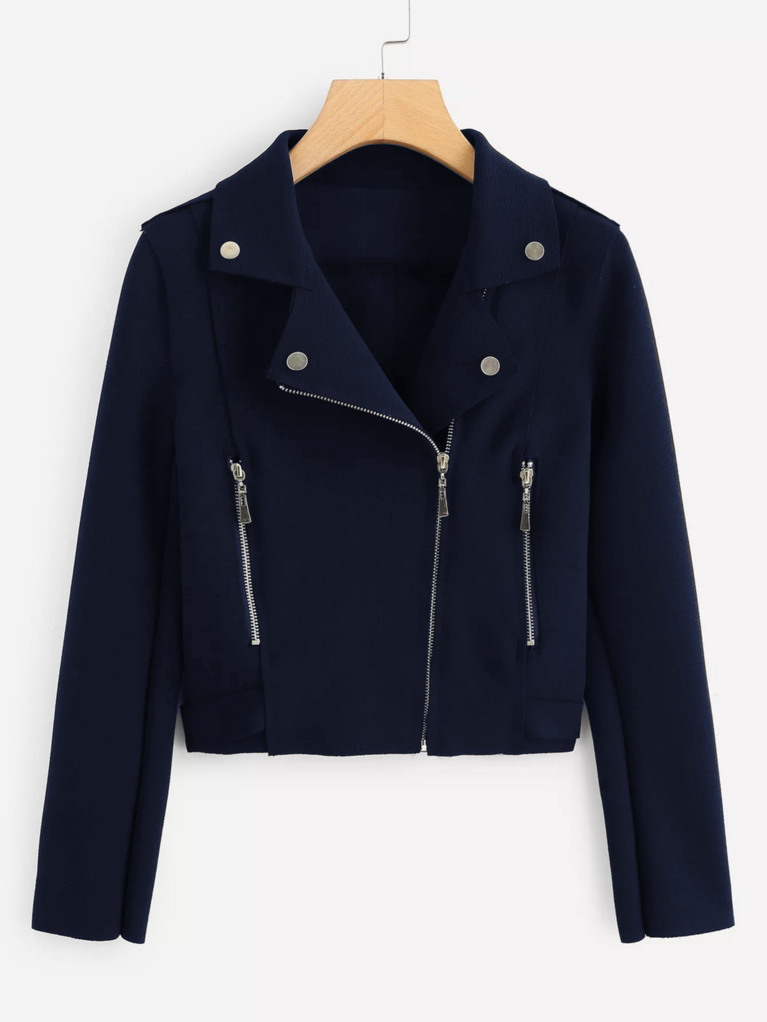 Fifth Avenue Cropped Fleece Moto Jacket LNA1001 - Navy Blue