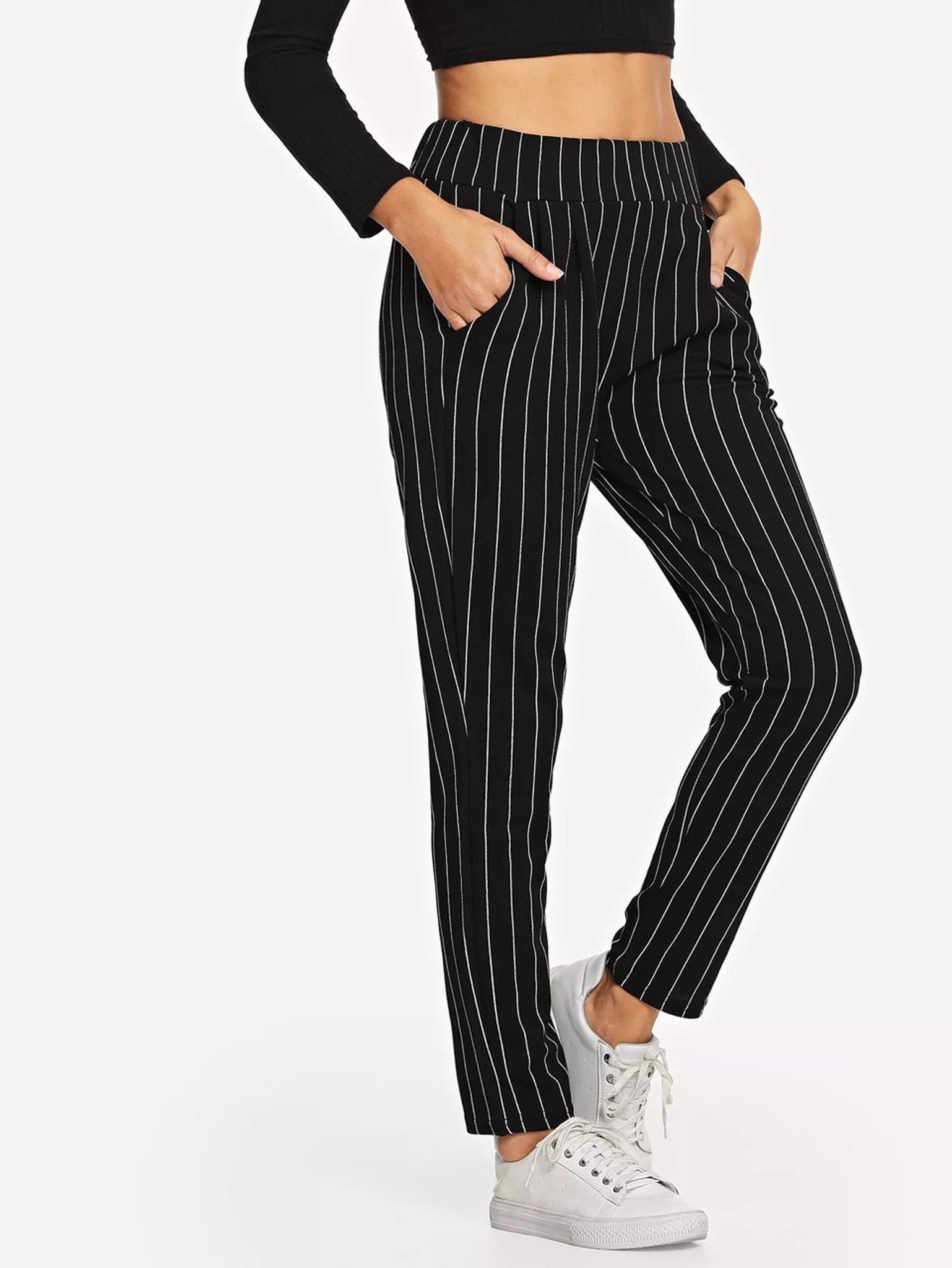 Fifth Avenue Cotton Pinstripe Print CTWP3 Elastic Waist Pants - Black