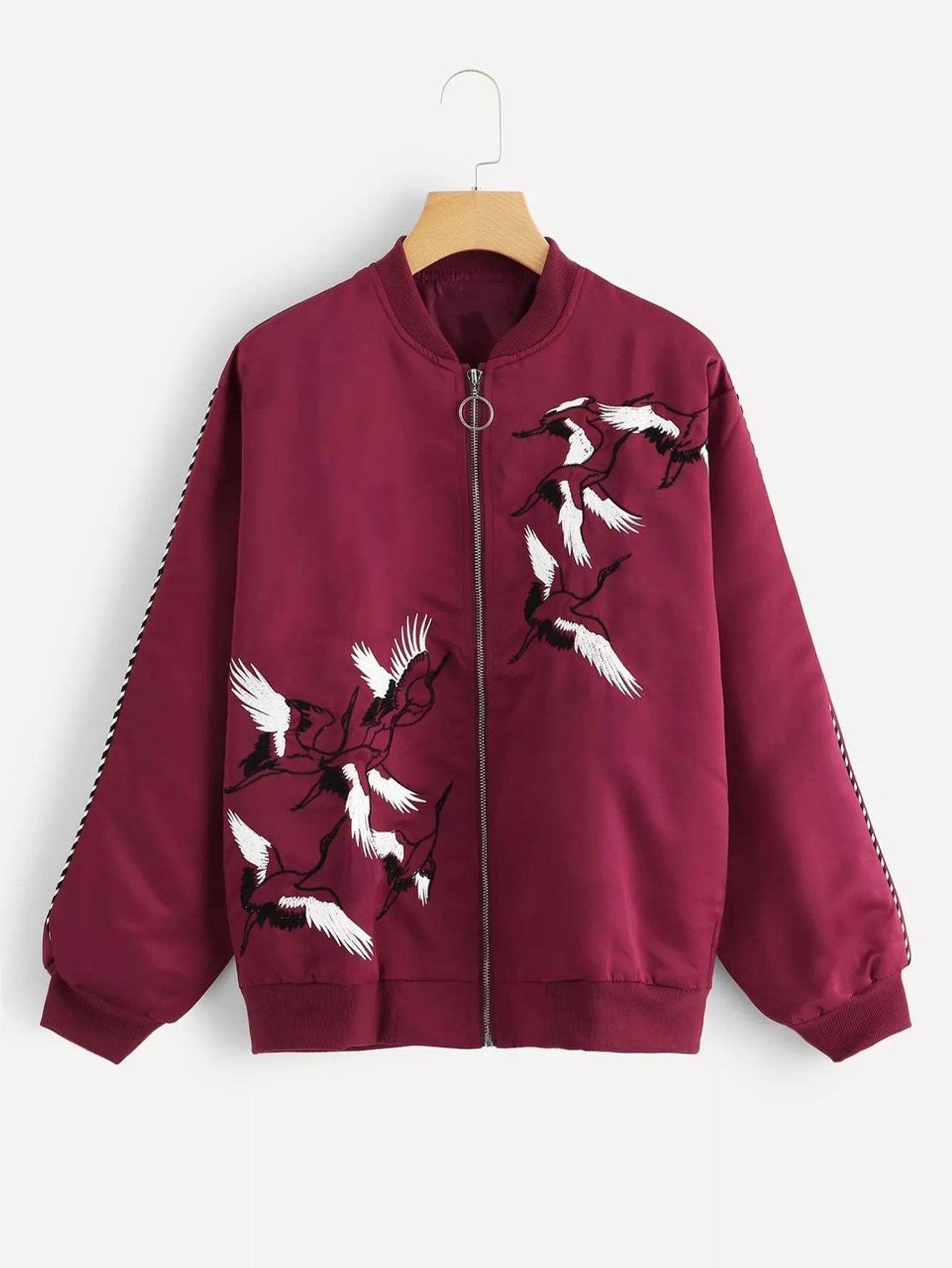 5952c1fe3 Fifth Avenue Women's Crane Print Fleece Bomber Jacket LNA1002 - Maroon