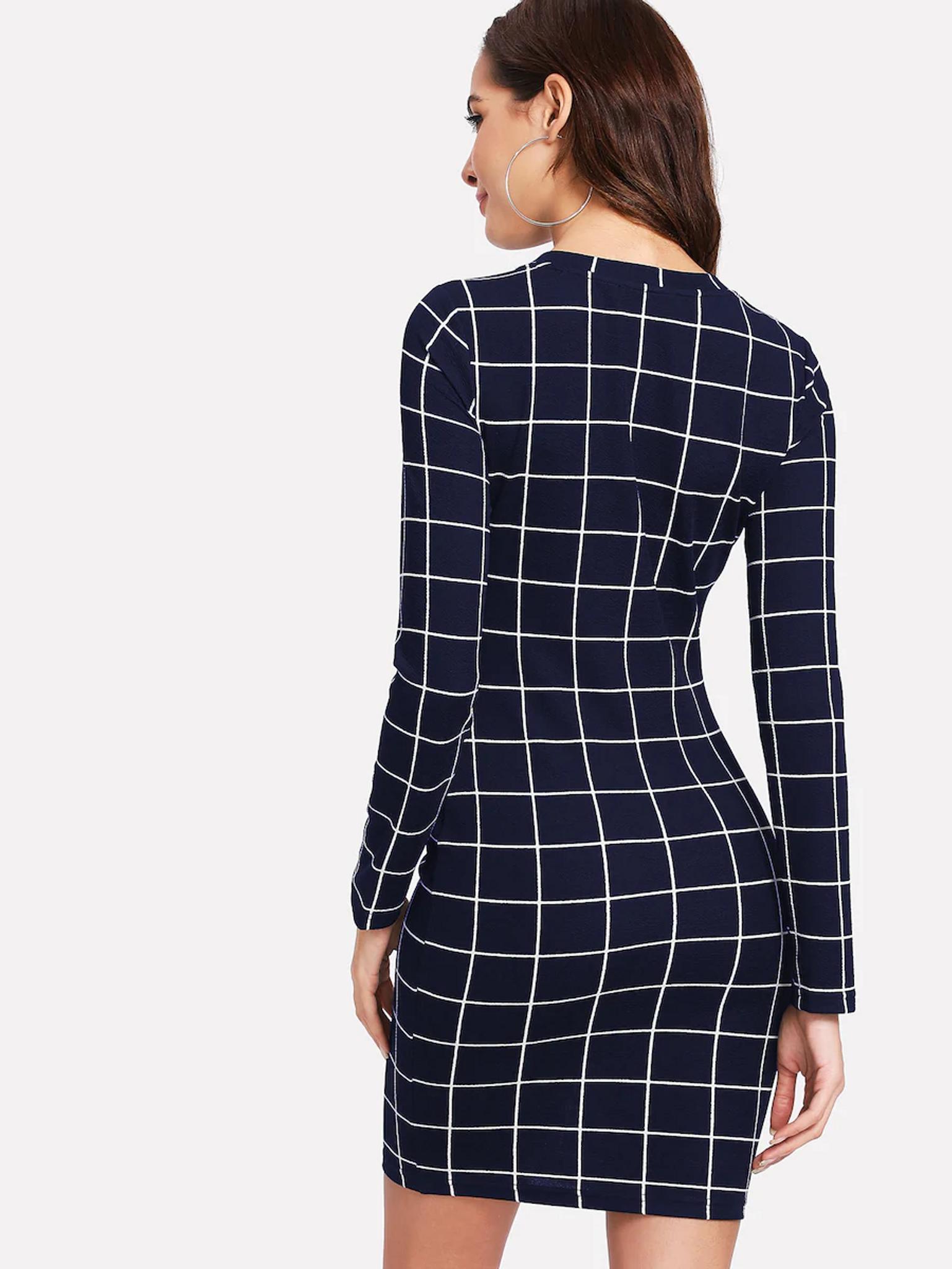 Fifth Avenue Women's Grid Print UVA159 Tunic Dress - Navy Blue