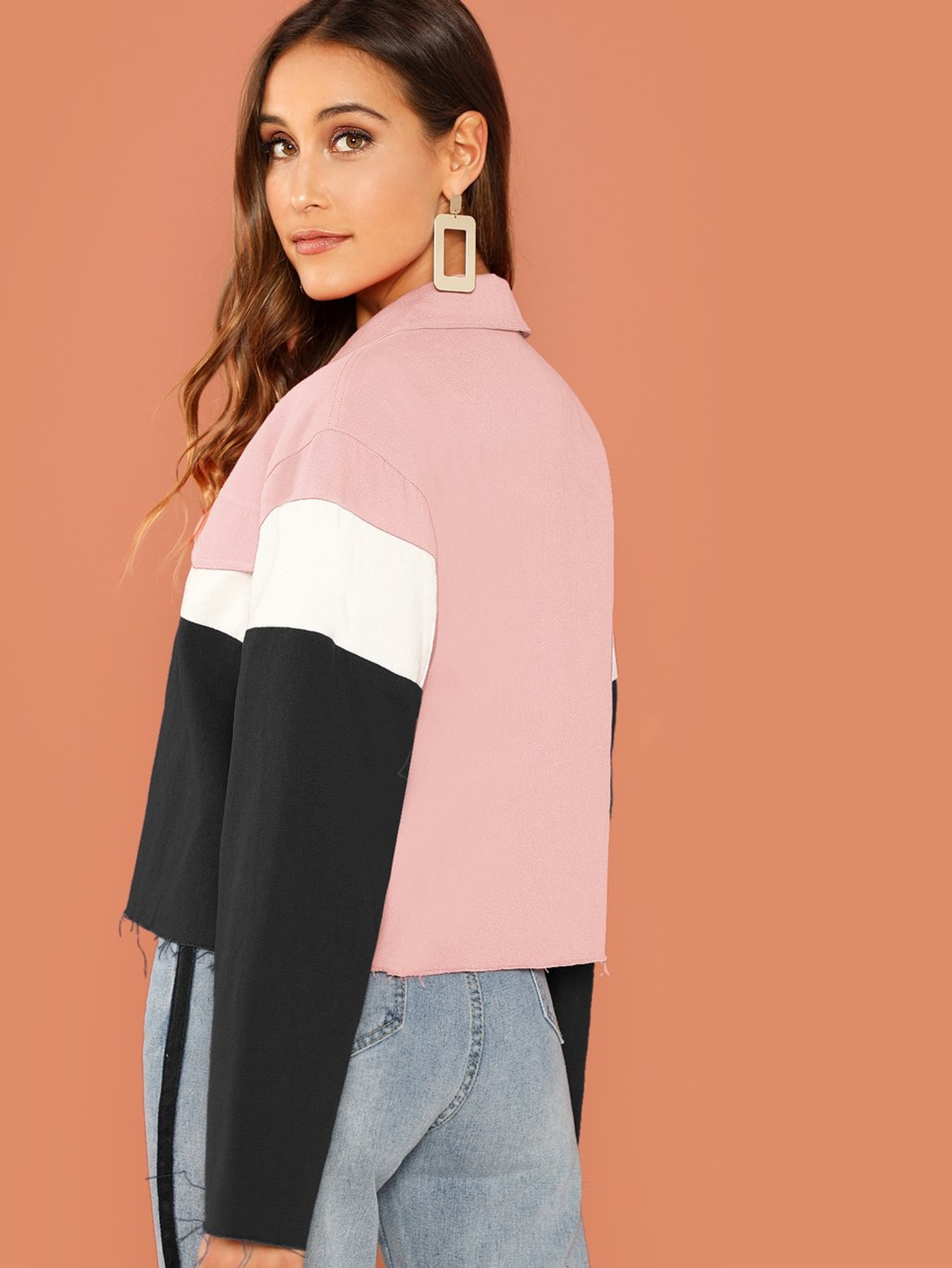 Fifth Avenue Cropped Fleece Color Block Button Jacket LNA1020 - Pink and Black