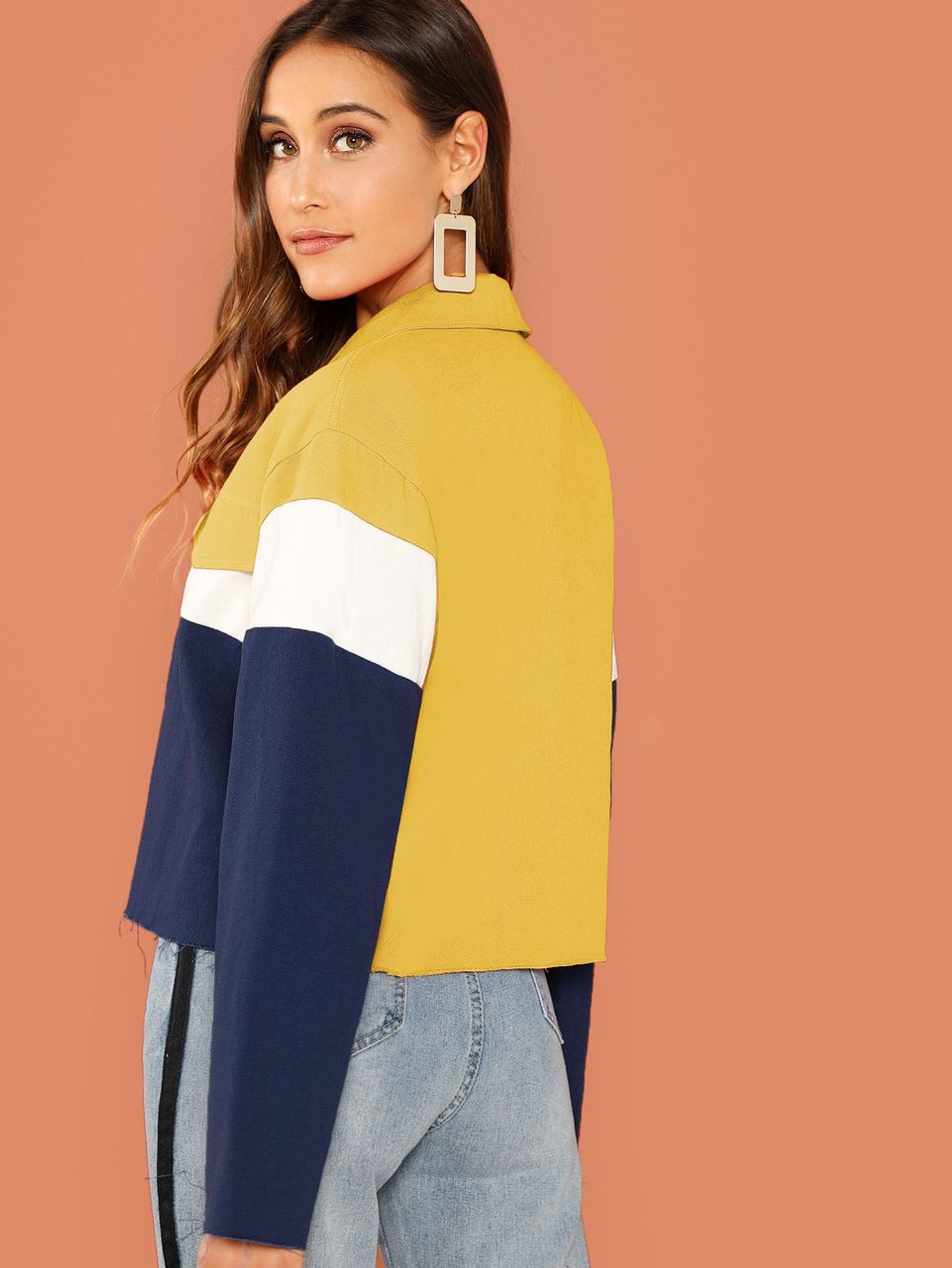 Fifth Avenue Cropped Fleece Color Block Button Jacket LNA1020 - Blue and Yellow
