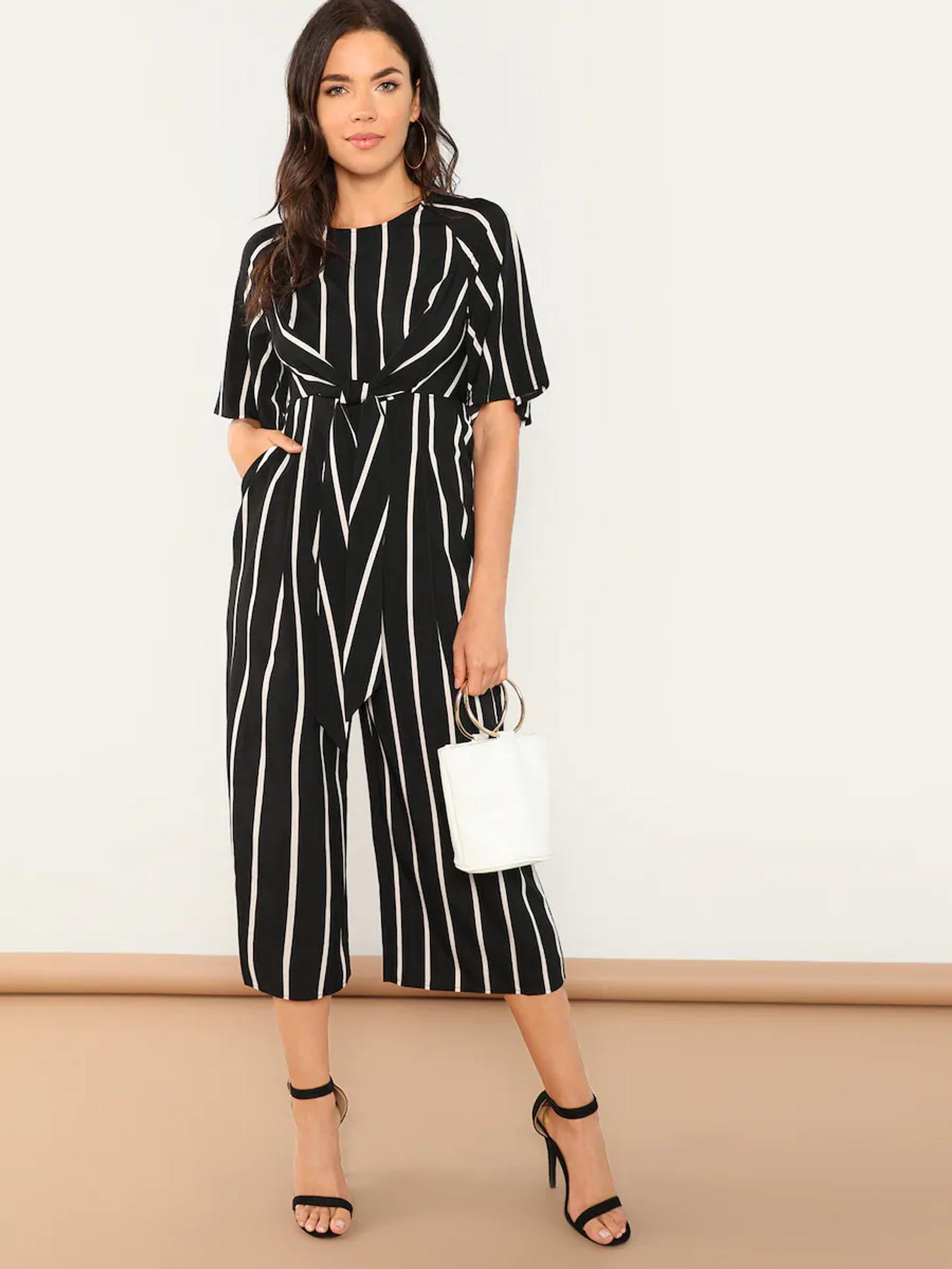 Fifth Avenue Women's JMS30 Striped Print Cotton Jumpsuit - Black