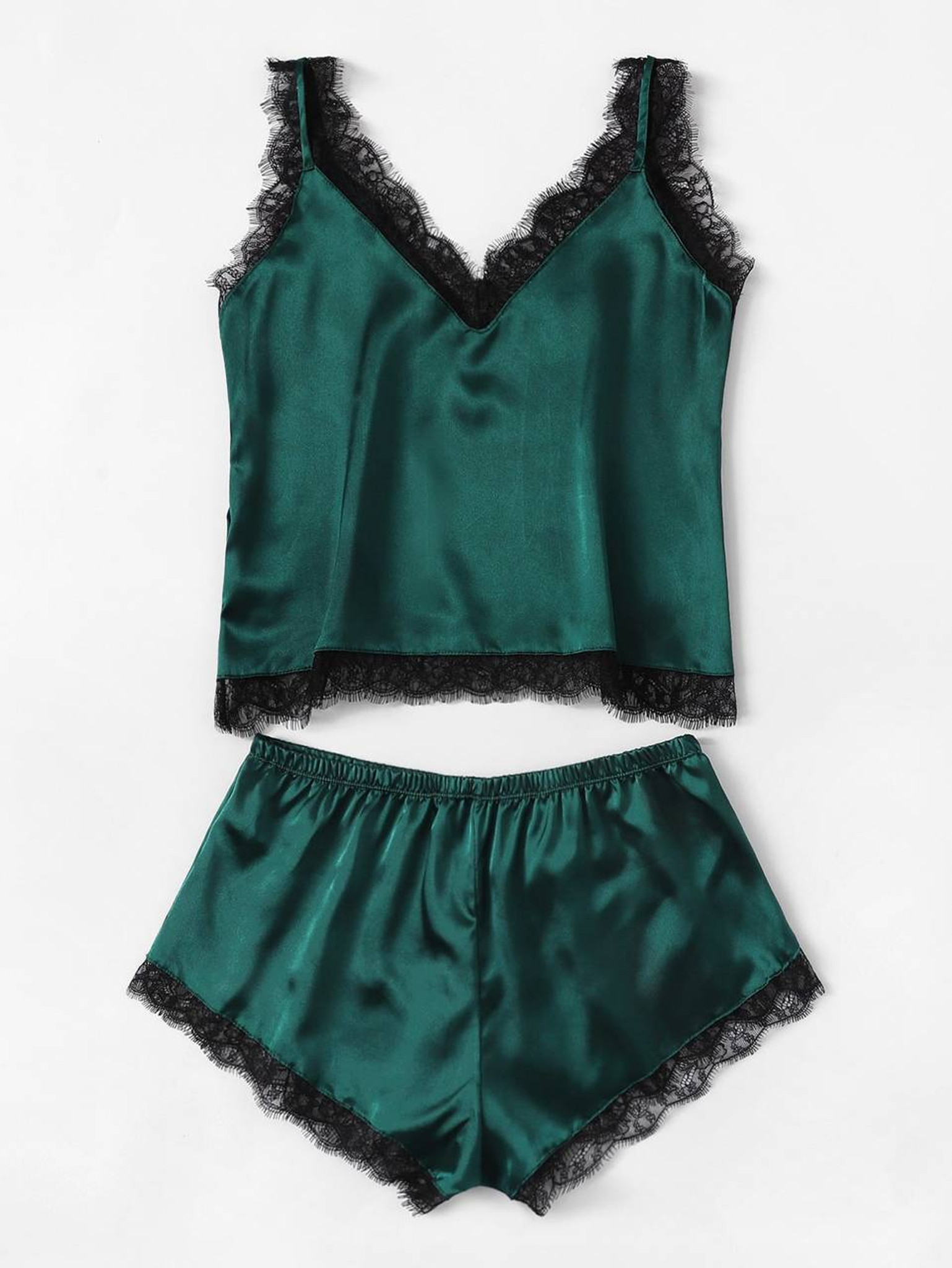Fifth Avenue Women's NSS27 Lace Trim Tank Top and Shorts Satin Set - Green