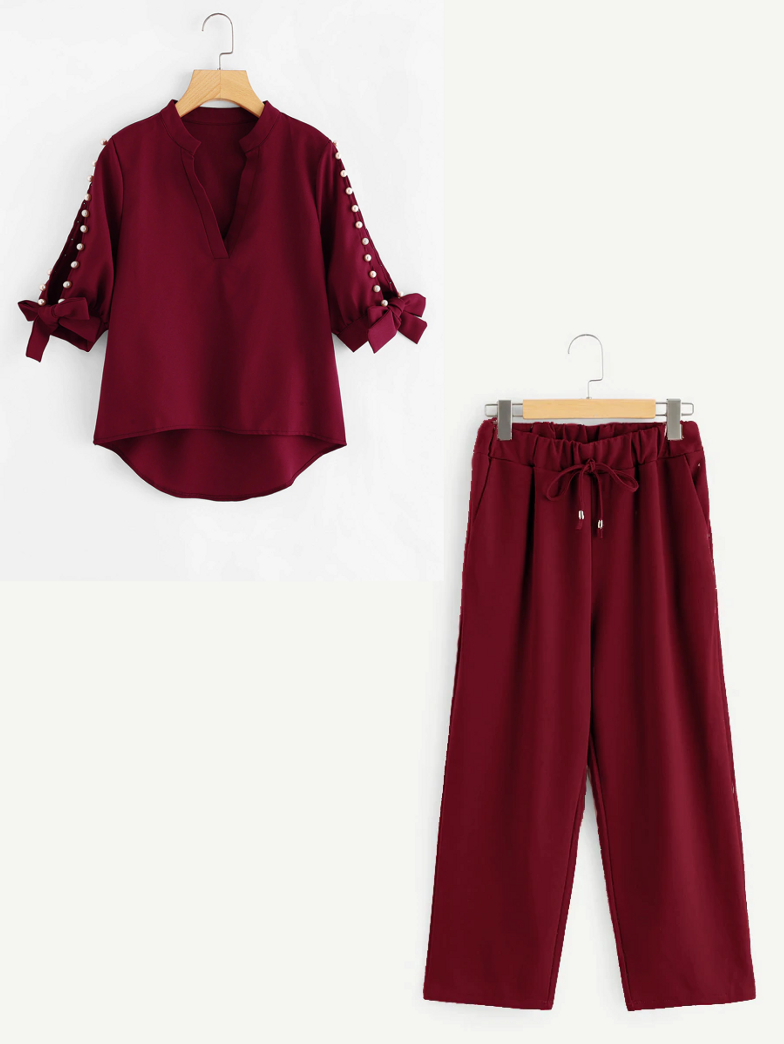Fifth Avenue Beaded Sleeve Tie Top and Culotte Pants 2 Piece Set TPS33 - Maroon