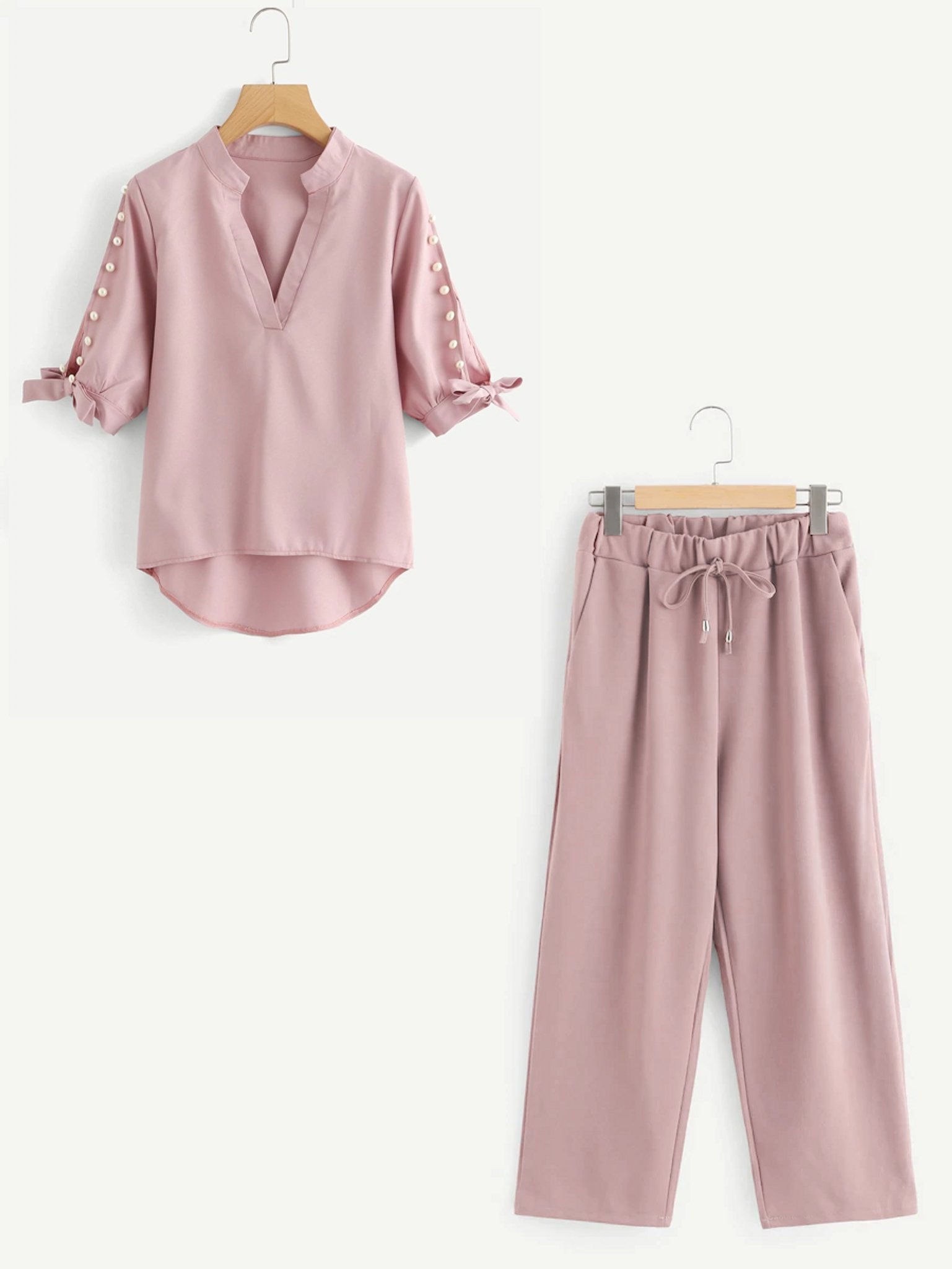 Fifth Avenue Beaded Sleeve Tie Top and Culotte Pants 2 Piece Set TPS33 - Pink