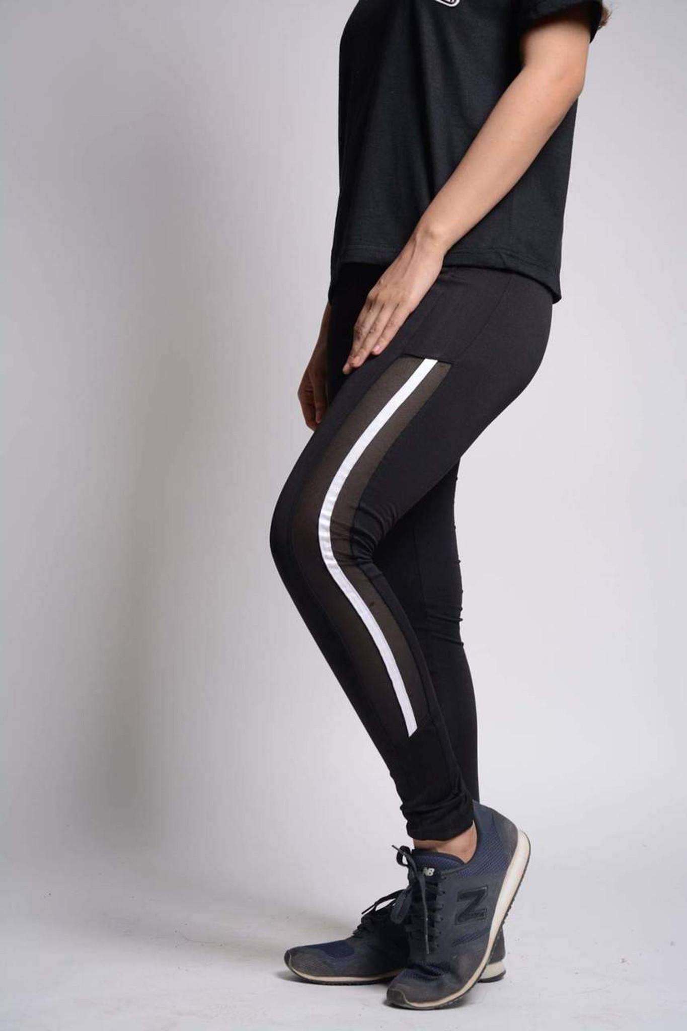 cae69cb7bff Fifth Avenue U903 Mesh Panel Striped Yoga Pants - Black